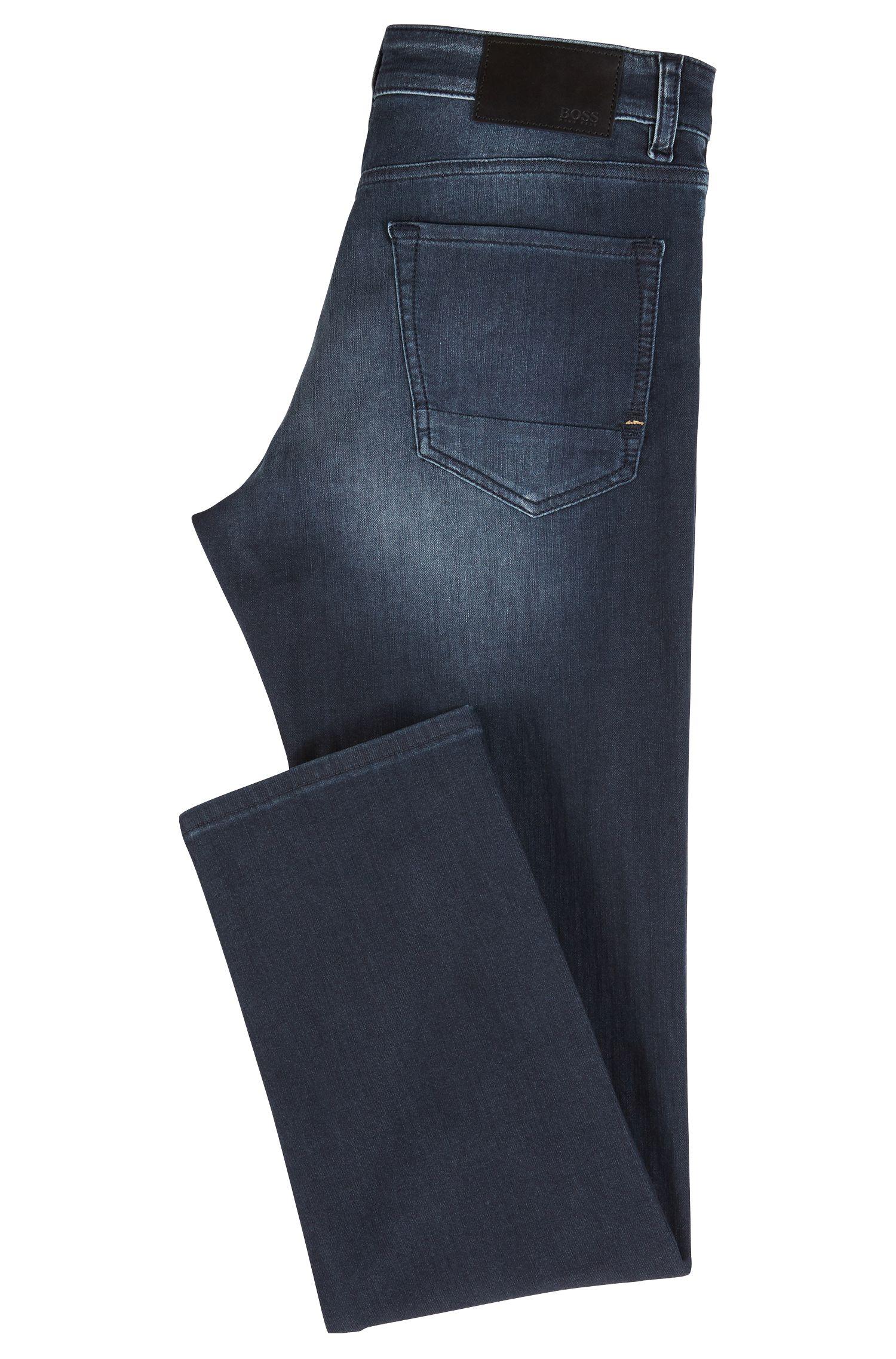 Überfärbte Regular-Fit Jeans aus gestricktem Denim, Dunkelblau