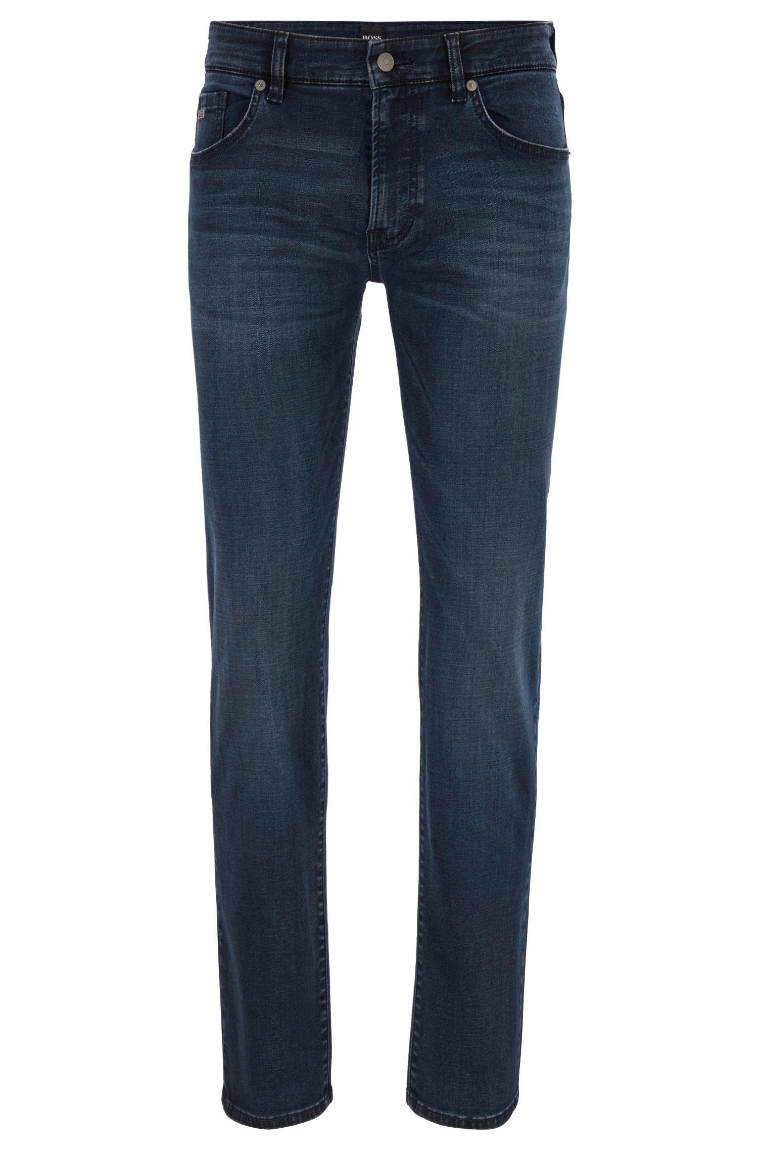 Regular-Fit Jeans aus Stretch-Denim mit umweltfreundlichem Finish, Dunkelblau