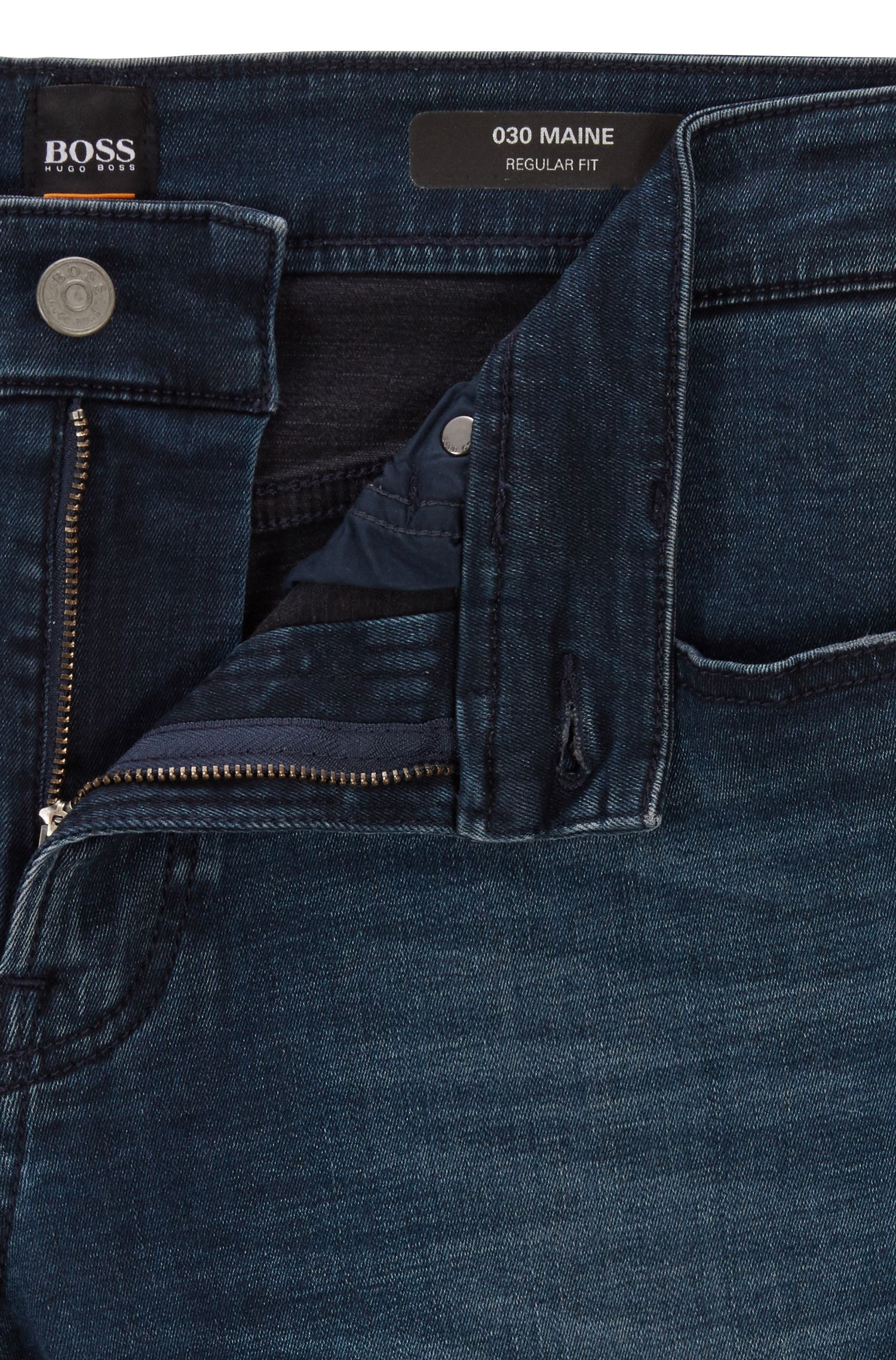 Regular-fit jeans with environmentally responsible finishing, Dark Blue