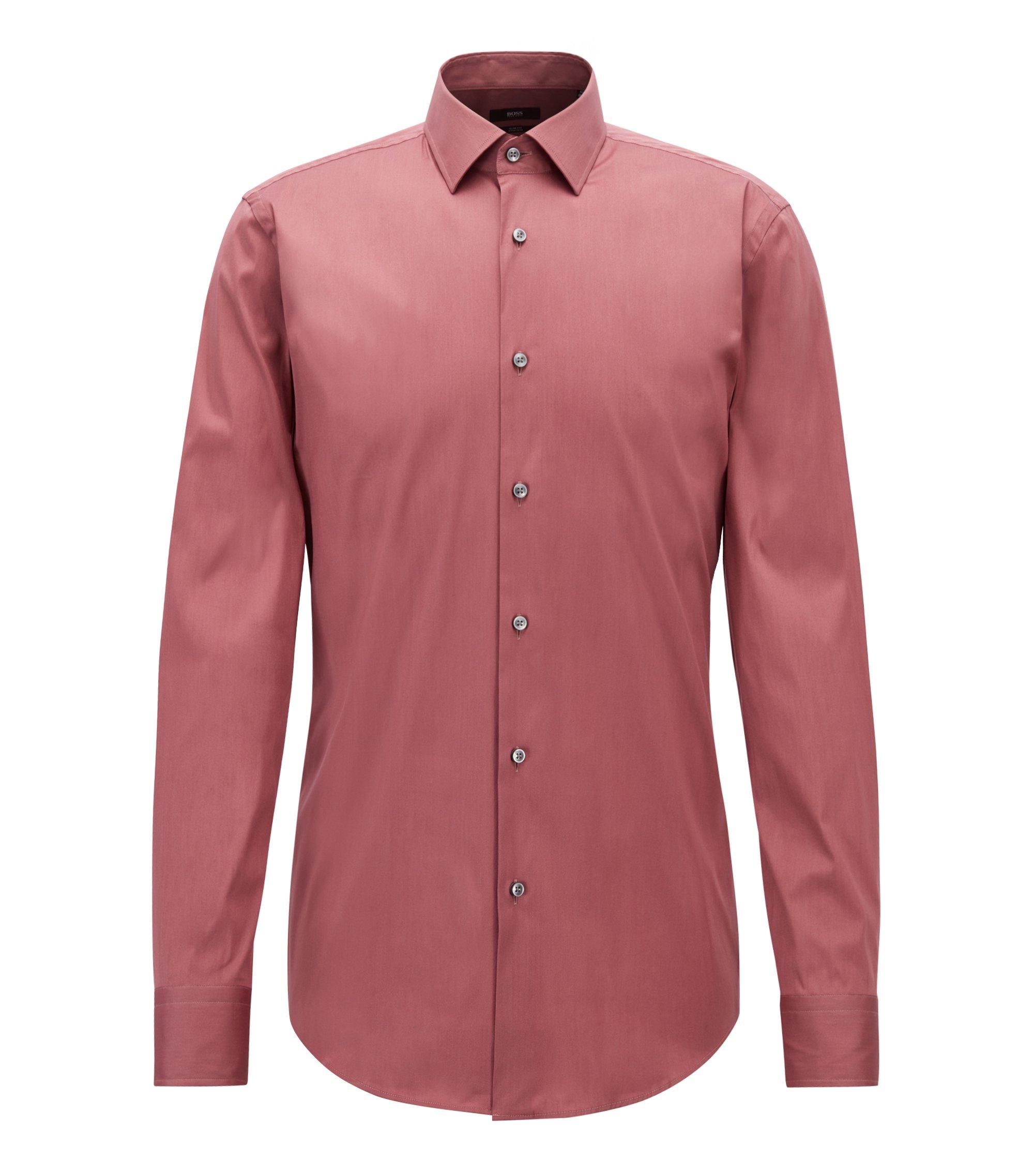 Slim-fit shirt in stretch cotton-blend poplin, Purple