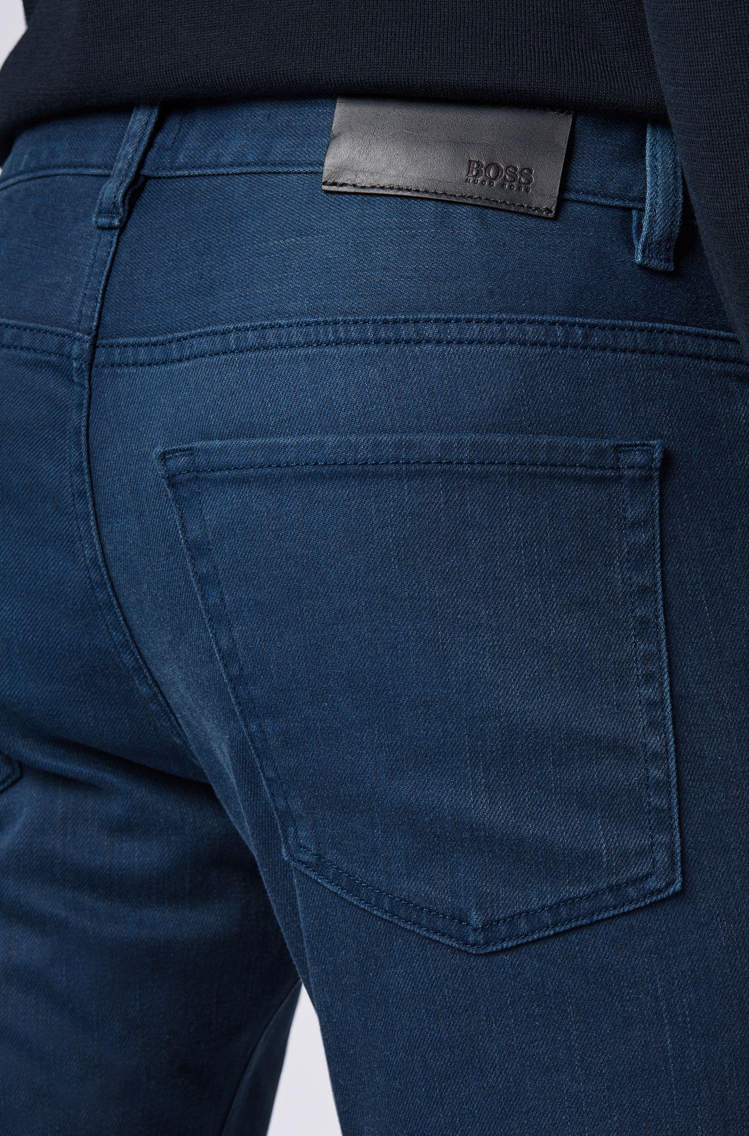 Jeans slim fit in denim elasticizzato blu-nero realizzato in Italia, Blu