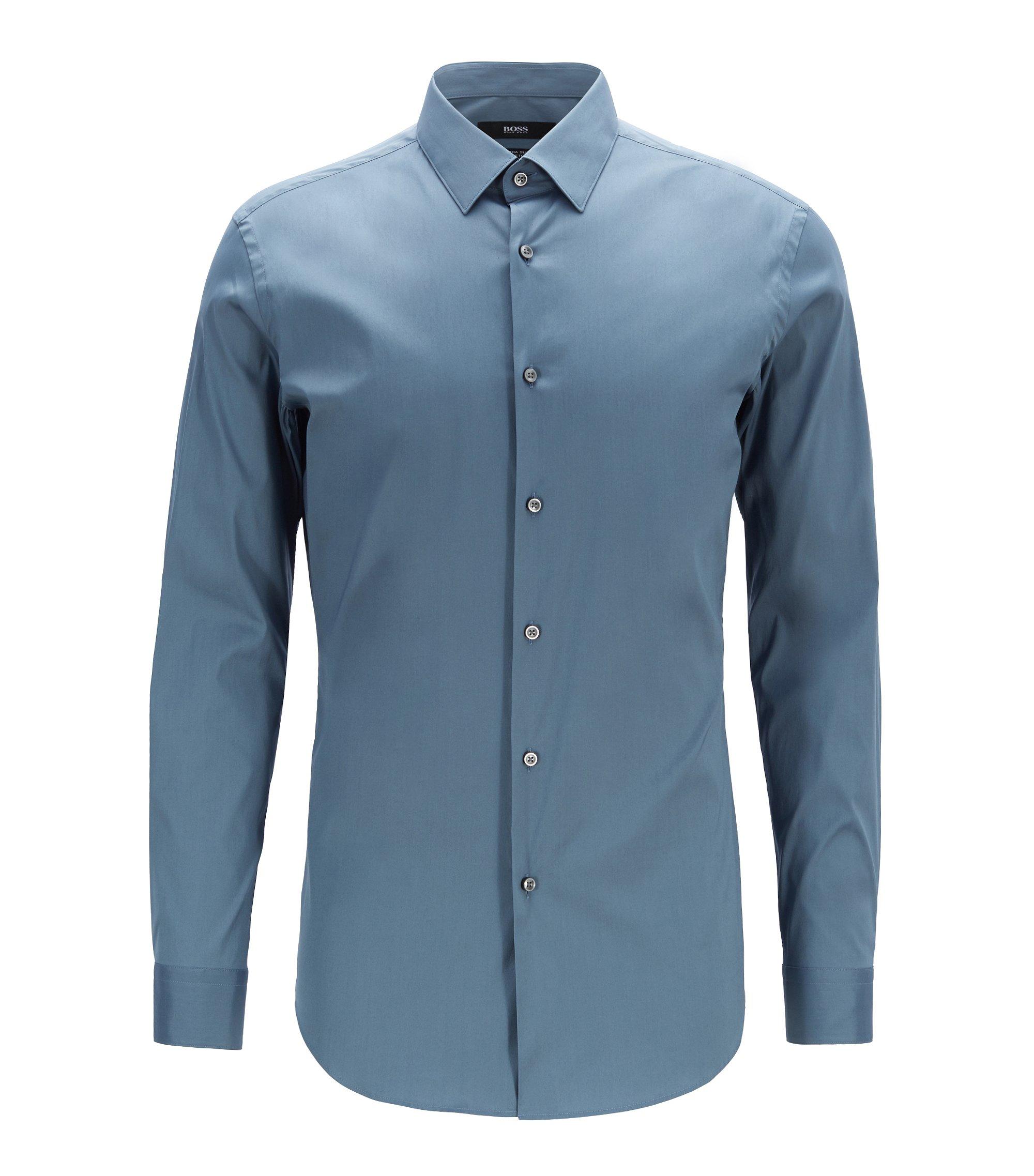 Extra slim-fit overhemd in een popeline met stretch, Blauw