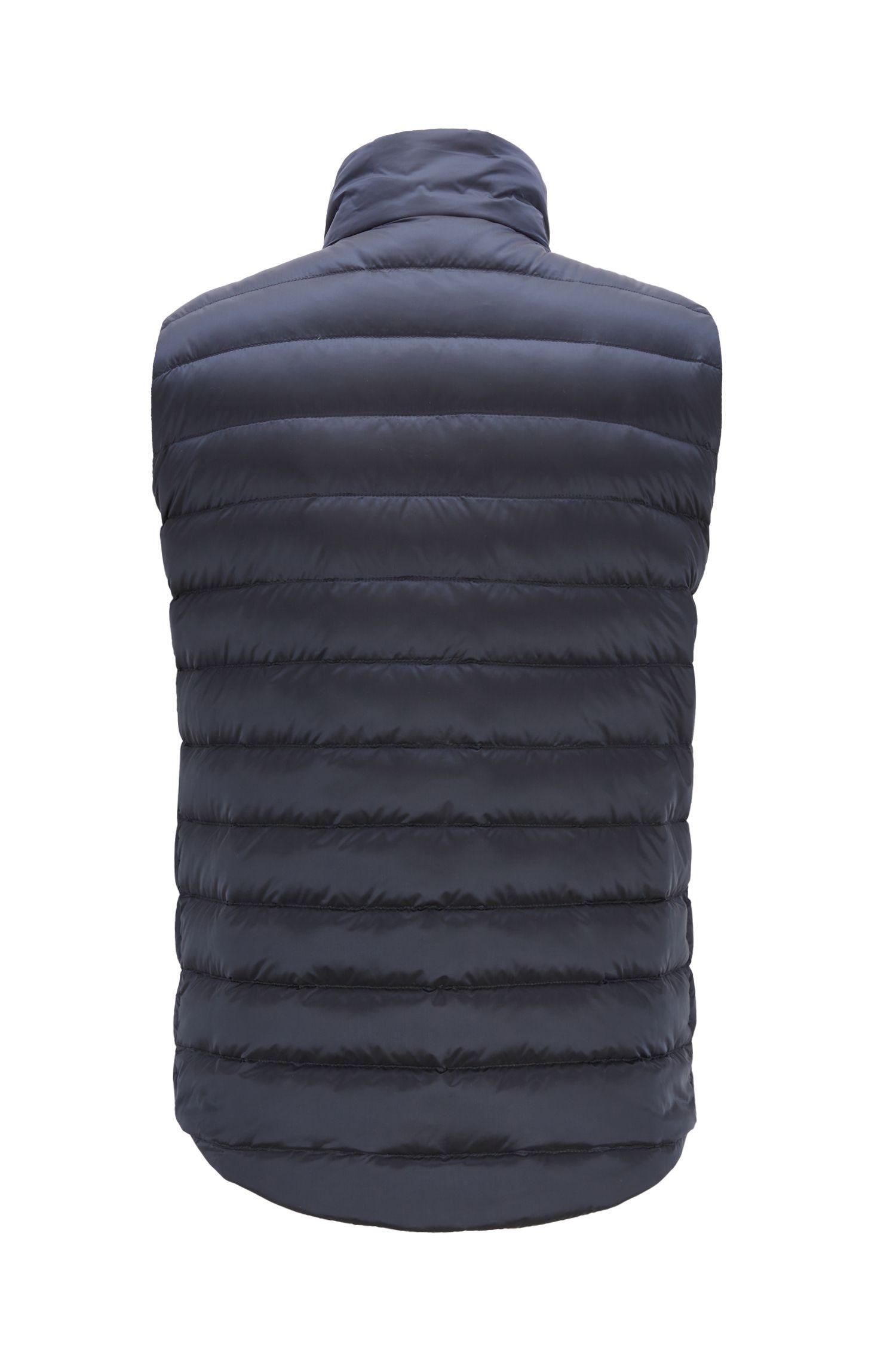Doudoune sans manches en duvet avec extérieur imperméable, Bleu foncé