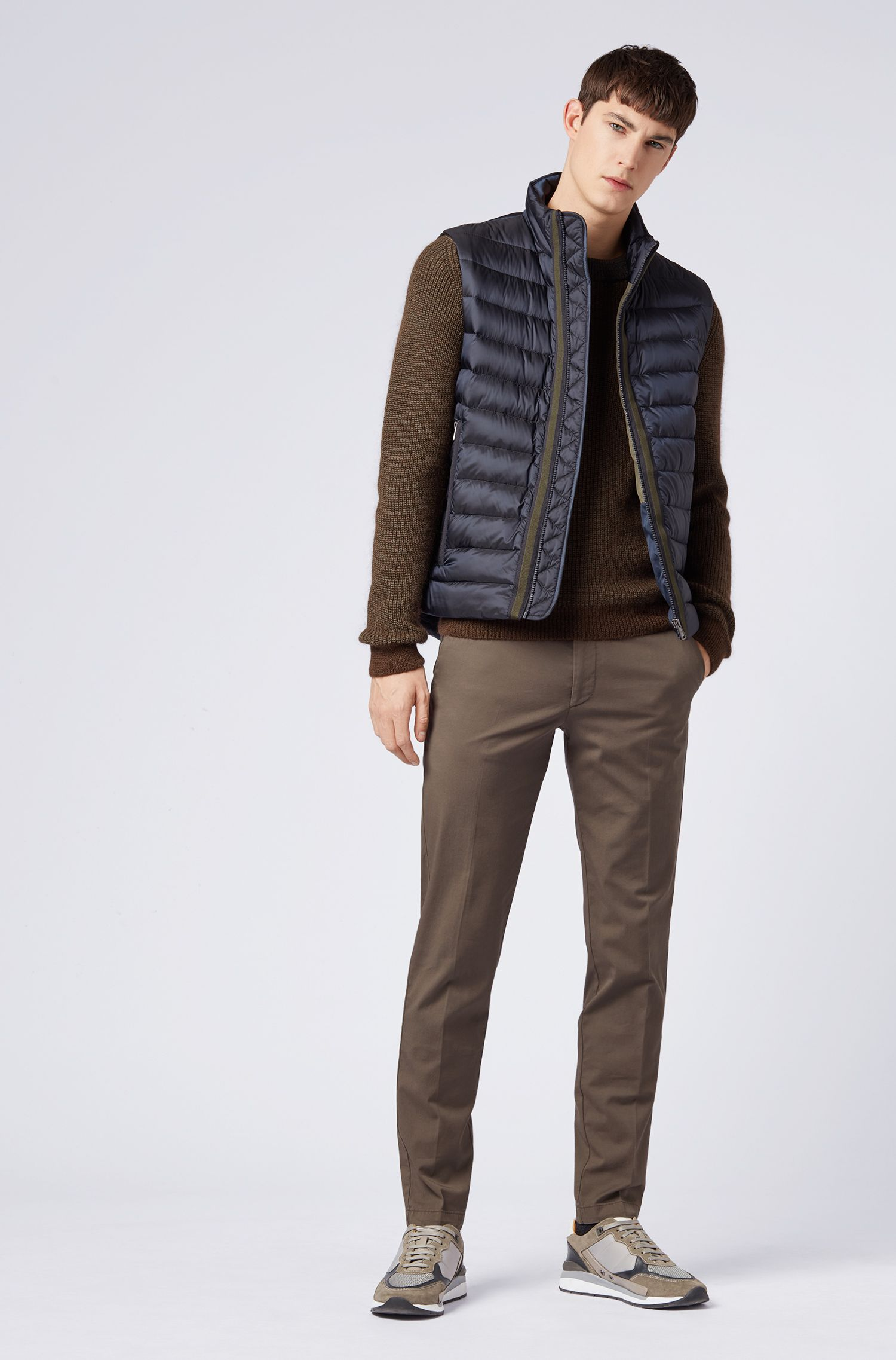 Down-filled gilet with water-repellent outer, Dark Blue