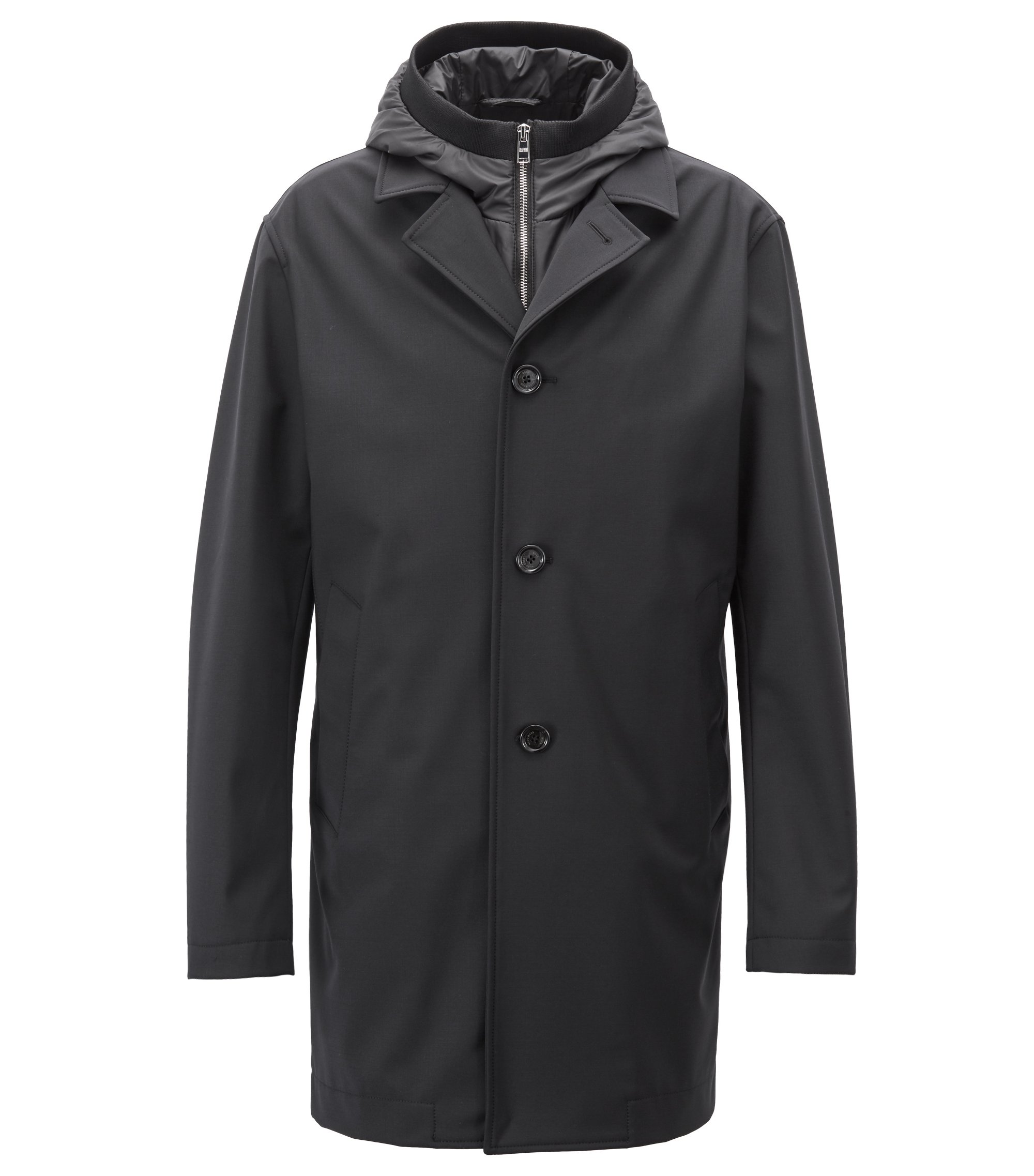 Tailored three-in-one coat with water-repellent finish, Schwarz