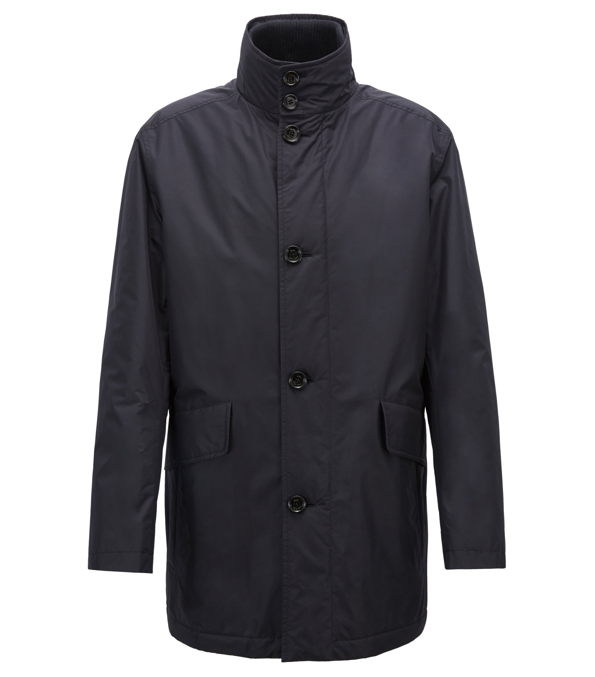 Funnel-neck car coat in water-repellent technical fabric, Dark Blue
