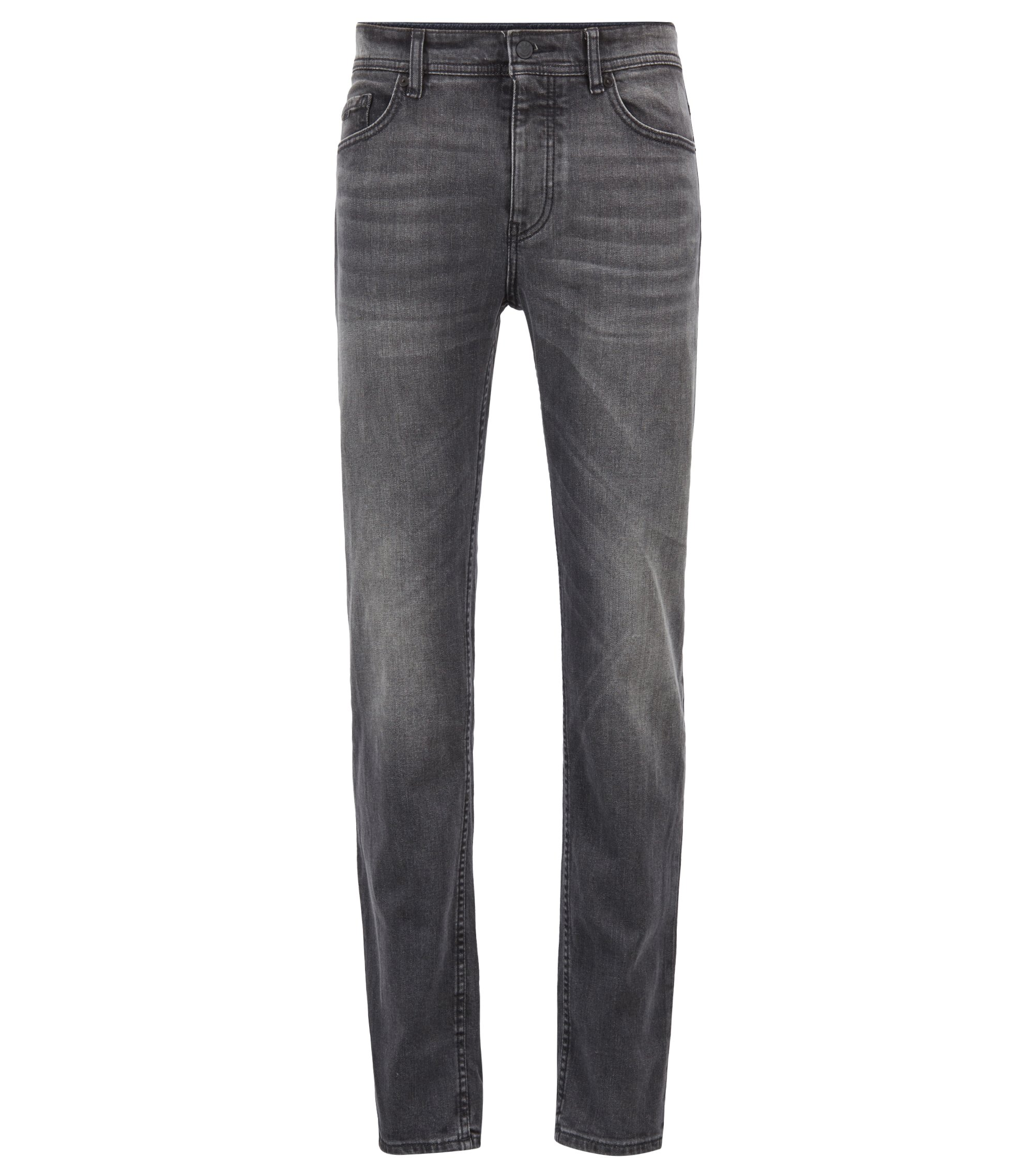 Tapered-fit jeans van grijs comfort-stretchdenim, Antraciet