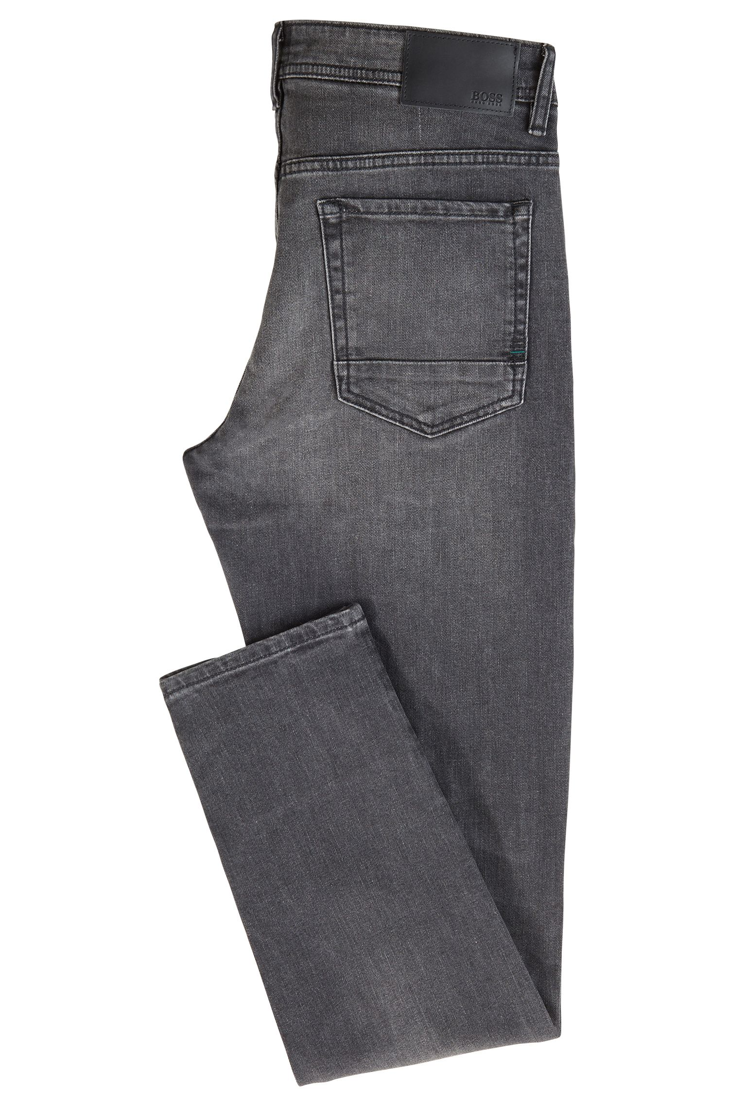 Jean Tapered Fit en denim stretch gris confortable, Anthracite