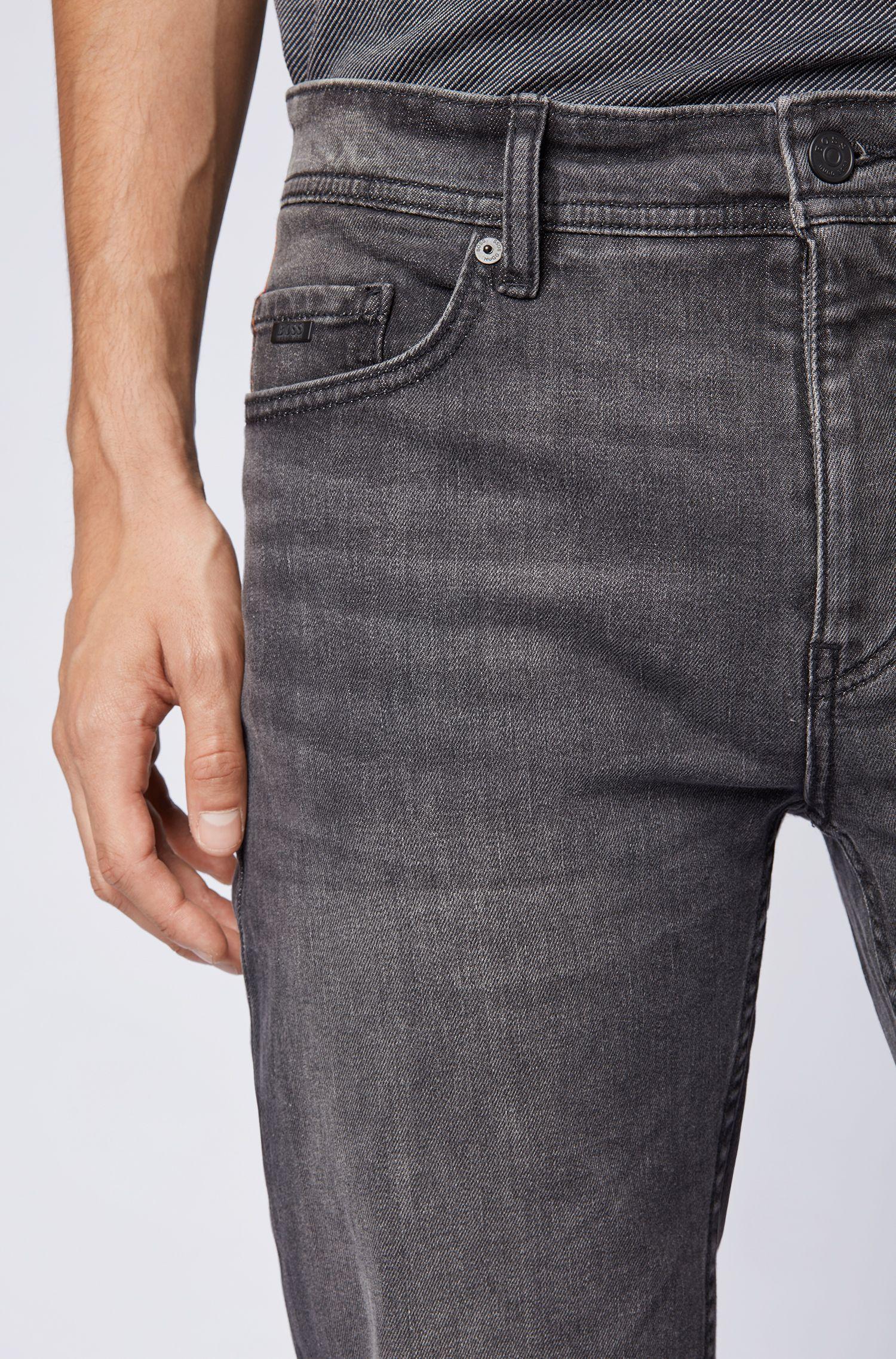 Tapered-Fit Jeans aus komfortablem Stretch-Denim, Anthrazit