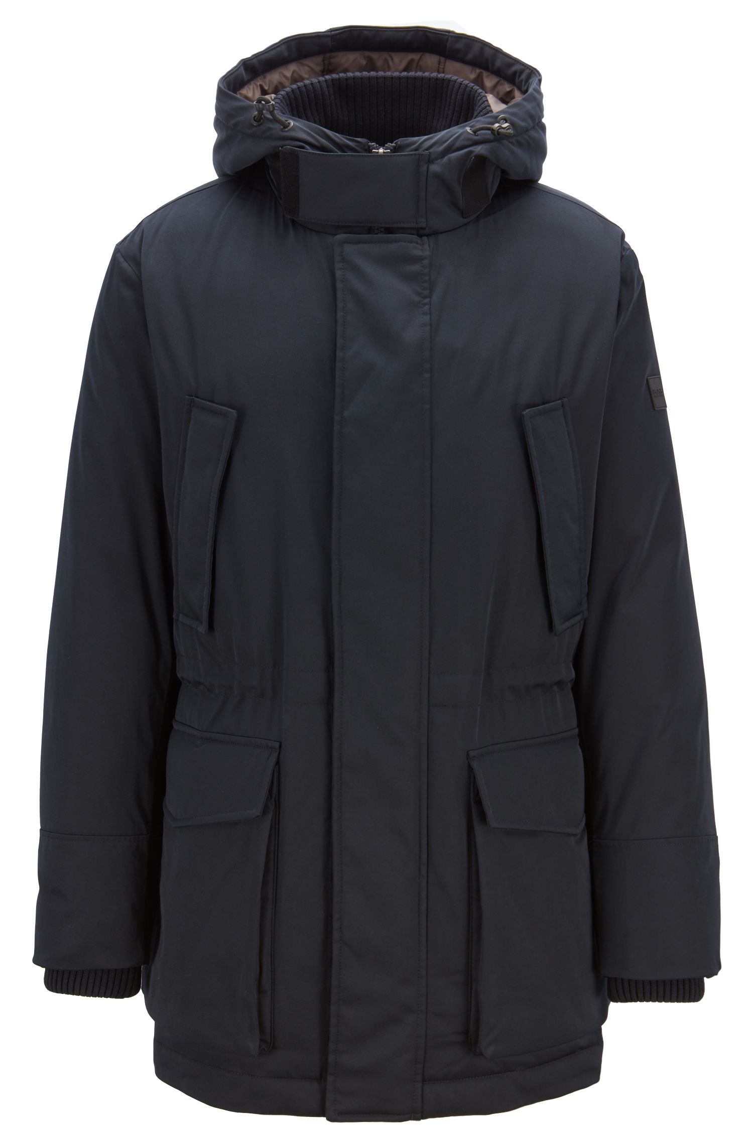 Down-filled parka in technical twill fabric with quilted lining, Blue