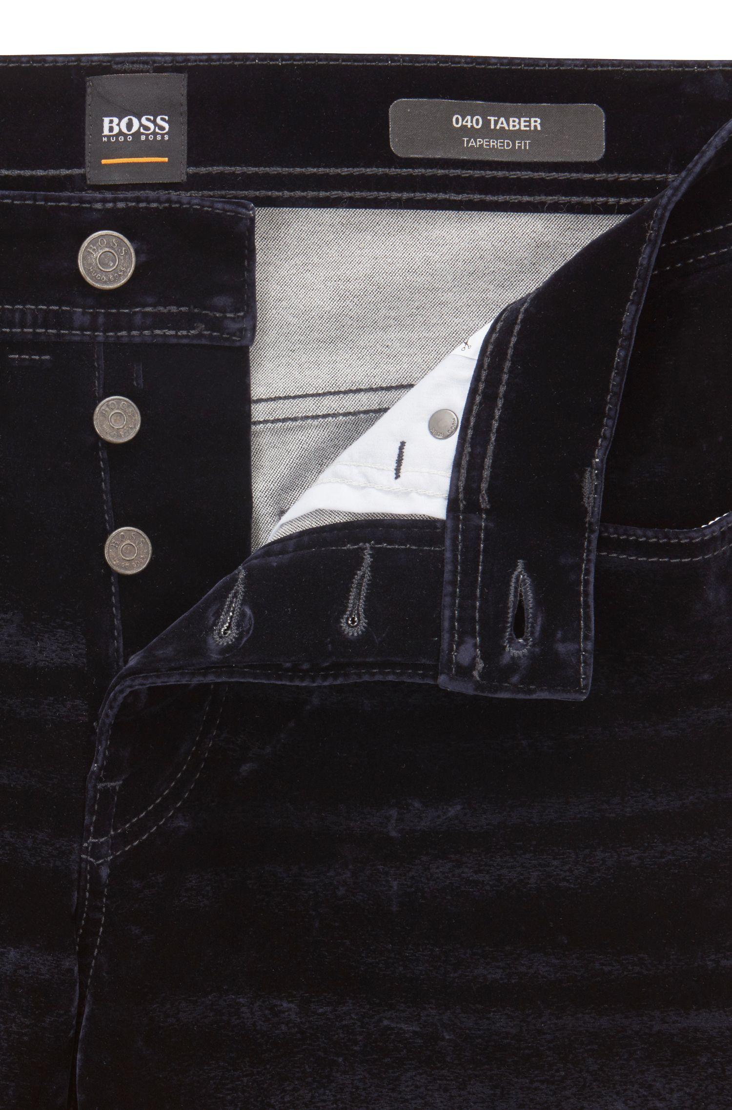 Vaqueros tapered fit en tejido vaquero italiano flocado, Azul oscuro