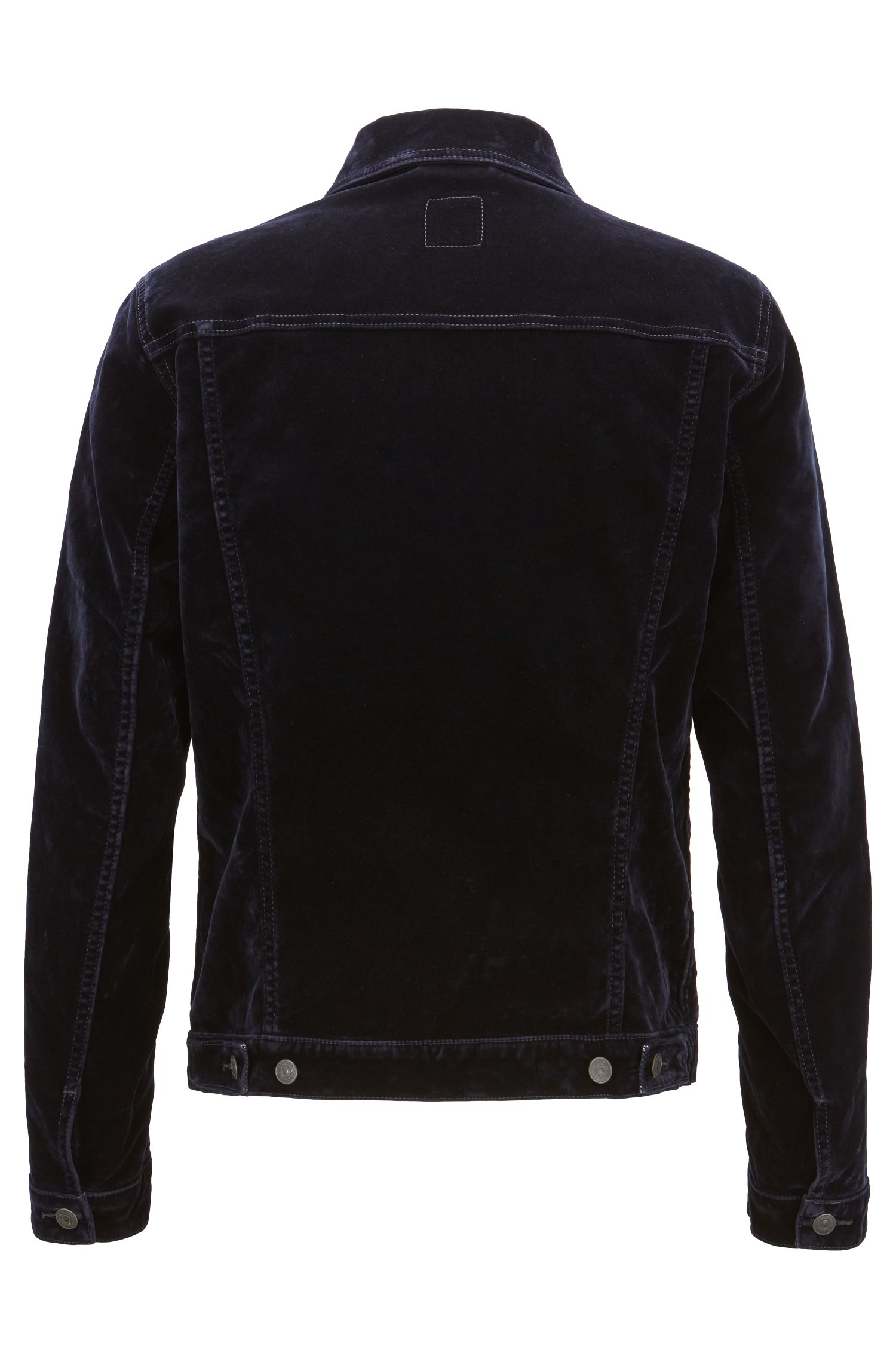 Regular-fit jacket in flocked velvet-look Italian denim, Dark Blue