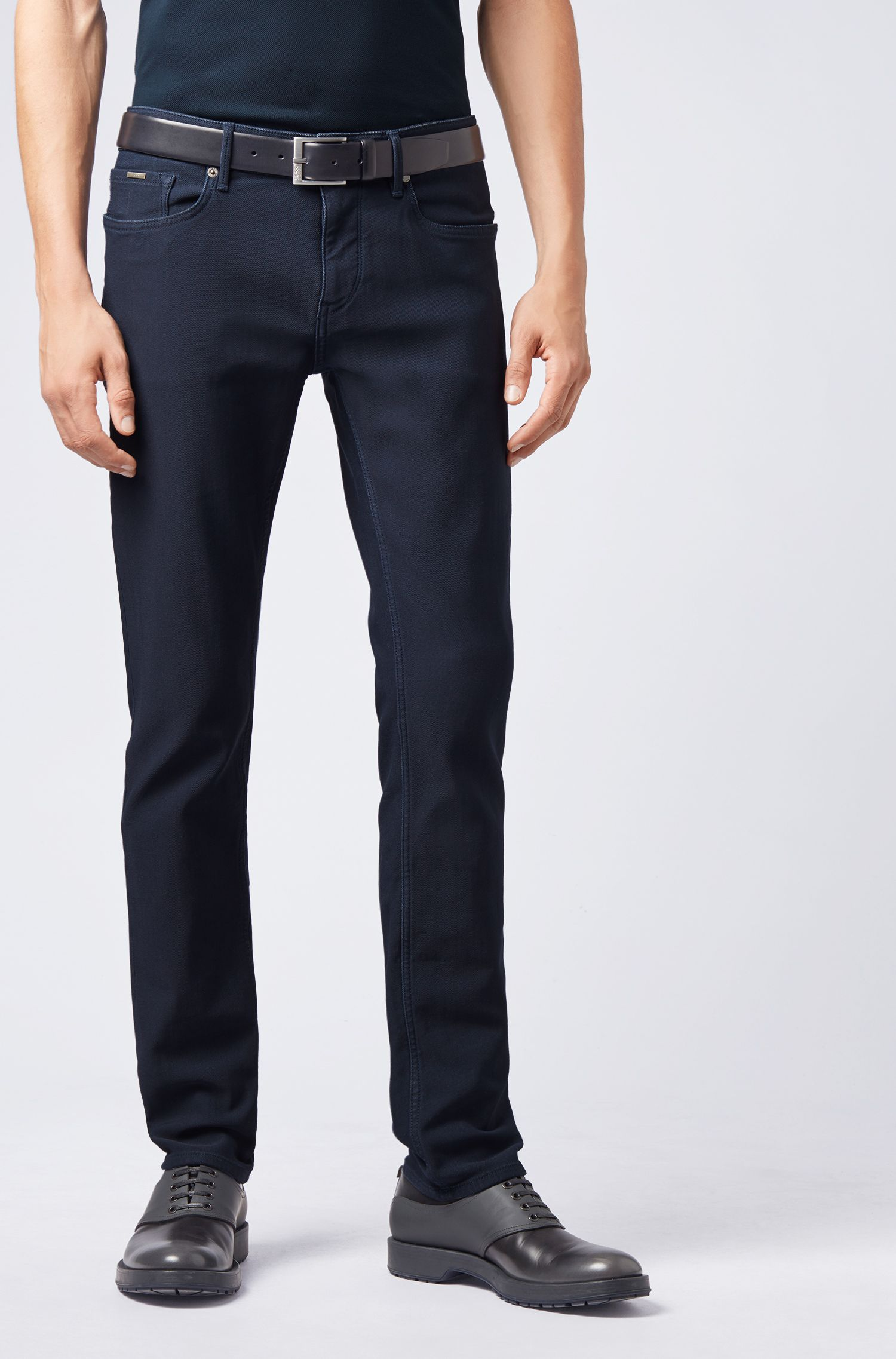Extra-slim-fit jeans in Italian denim jersey, Dark Blue