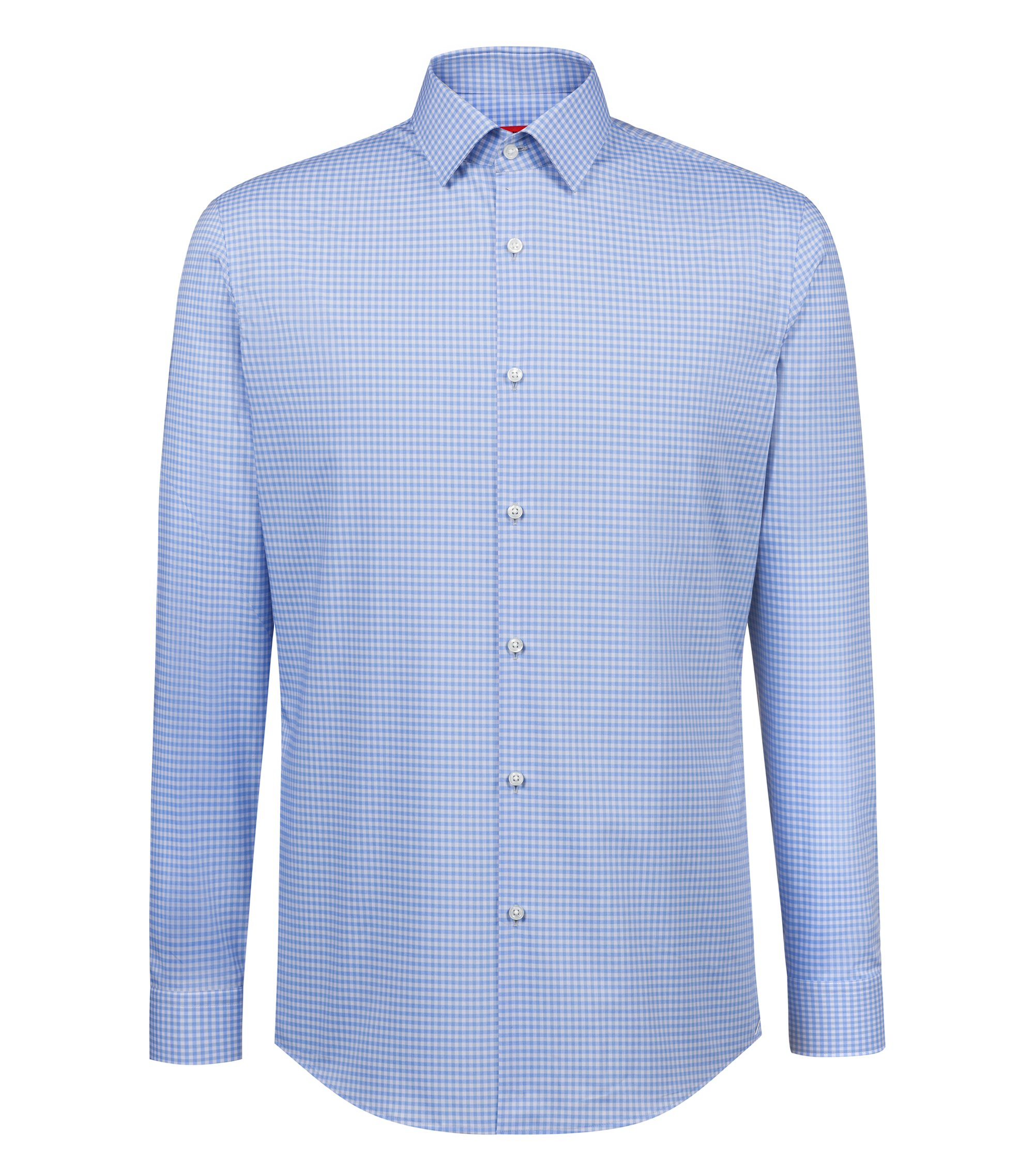 Slim-fit shirt in easy-iron Vichy-check cotton, Gemustert