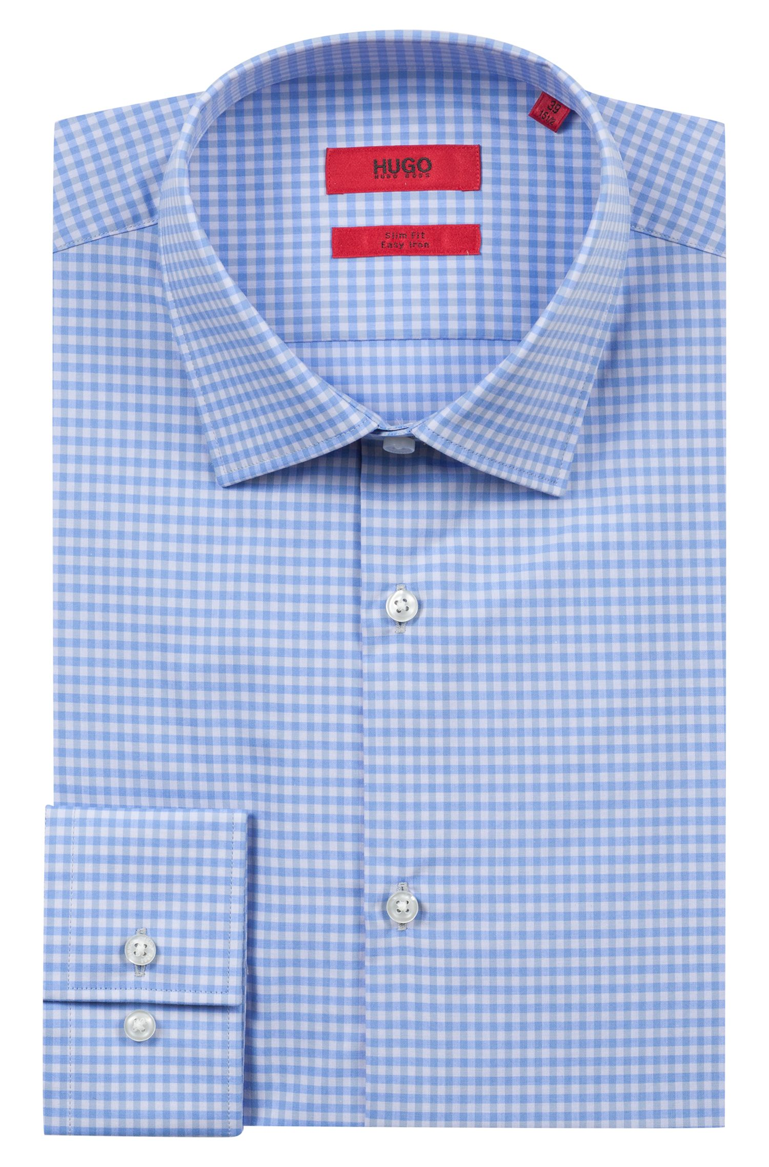 Slim-fit shirt in easy-iron Vichy-check cotton, Patterned