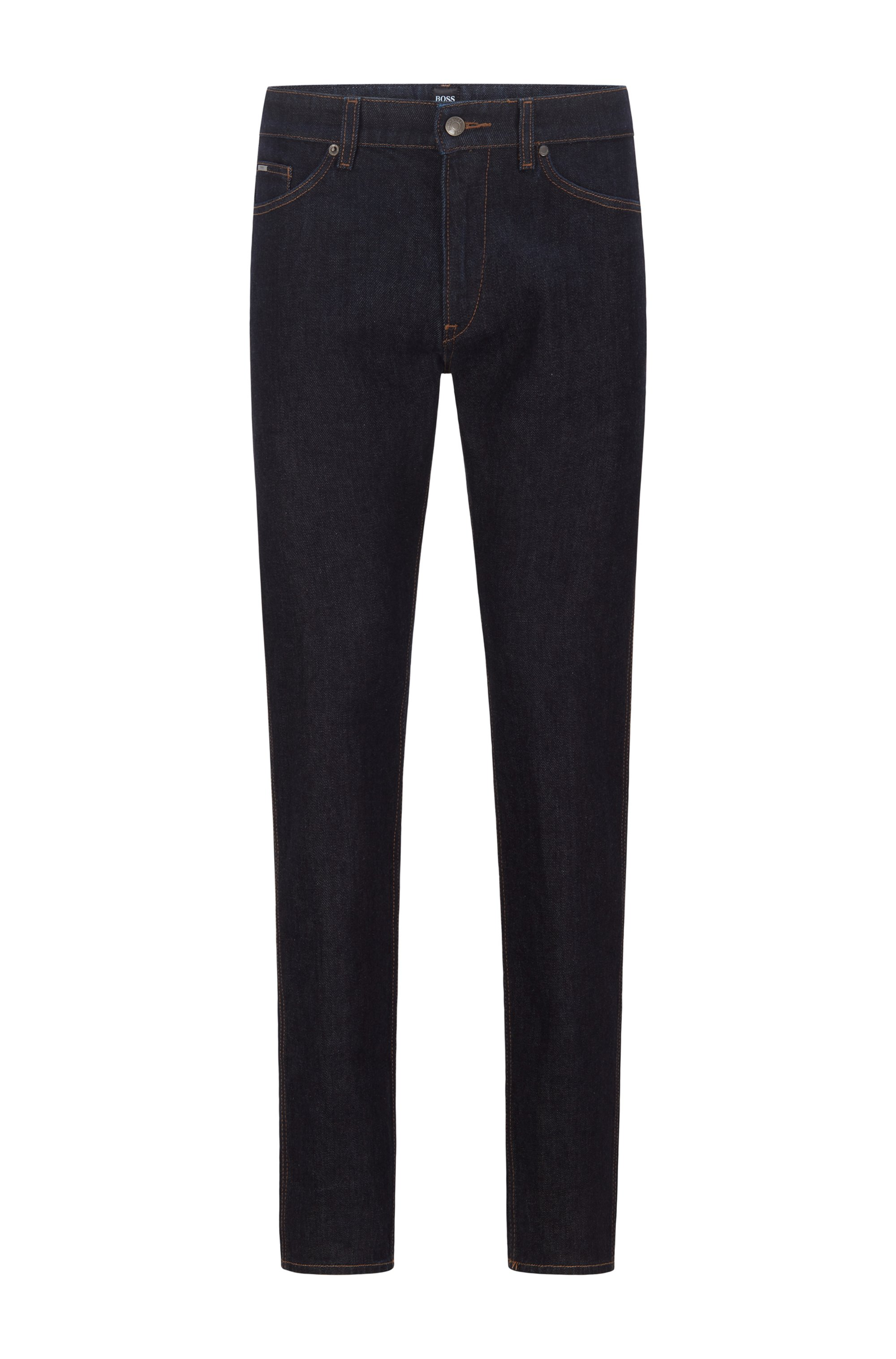 Slim-Fit Jeans aus italienischem Stretch-Denim, Dunkelblau