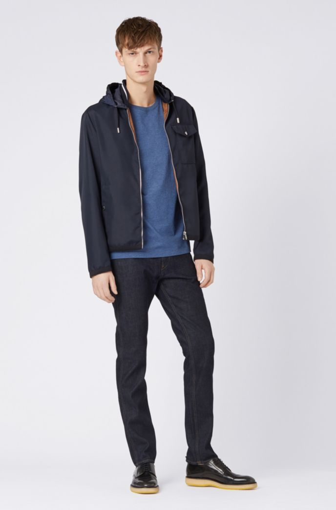 Slim-fit jeans in dark-blue Italian stretch denim