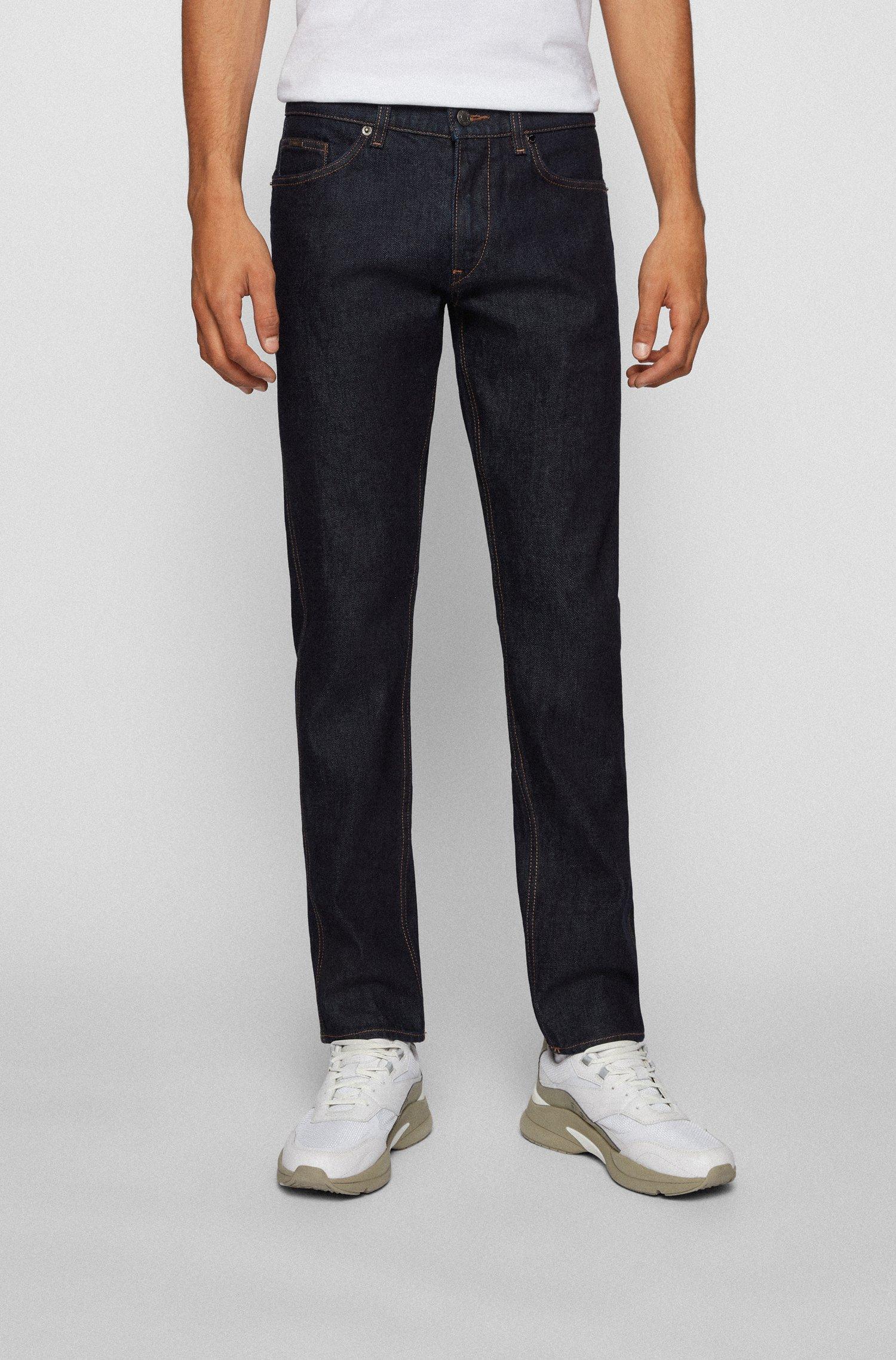 Slim-fit jeans in dark-blue Italian stretch denim, Dark Blue