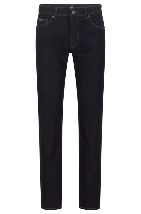 Regular-fit jeans in indigo Italian stretch denim, Dark Blue