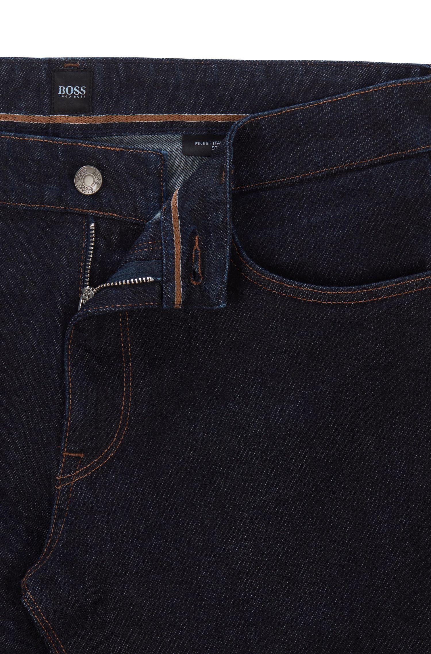 Jean Regular Fit en denim stretch italien indigo, Bleu foncé