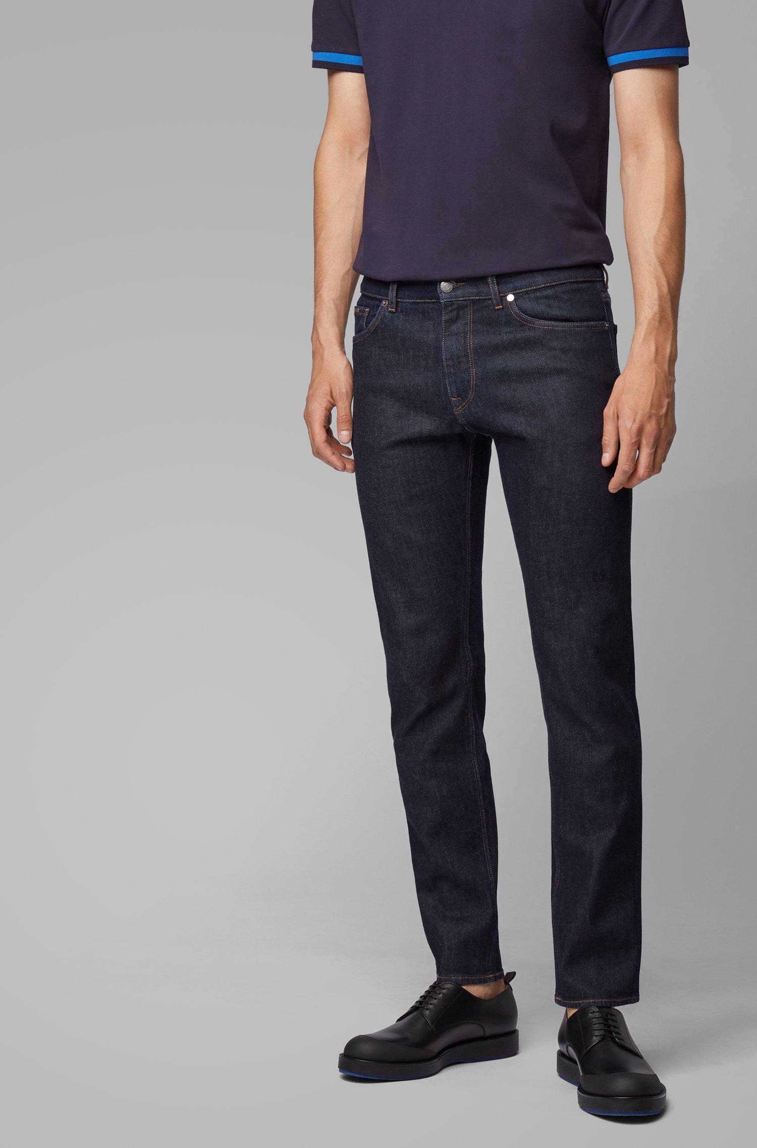 Regular-fit jeans in dark-blue Italian stretch denim, Dark Blue