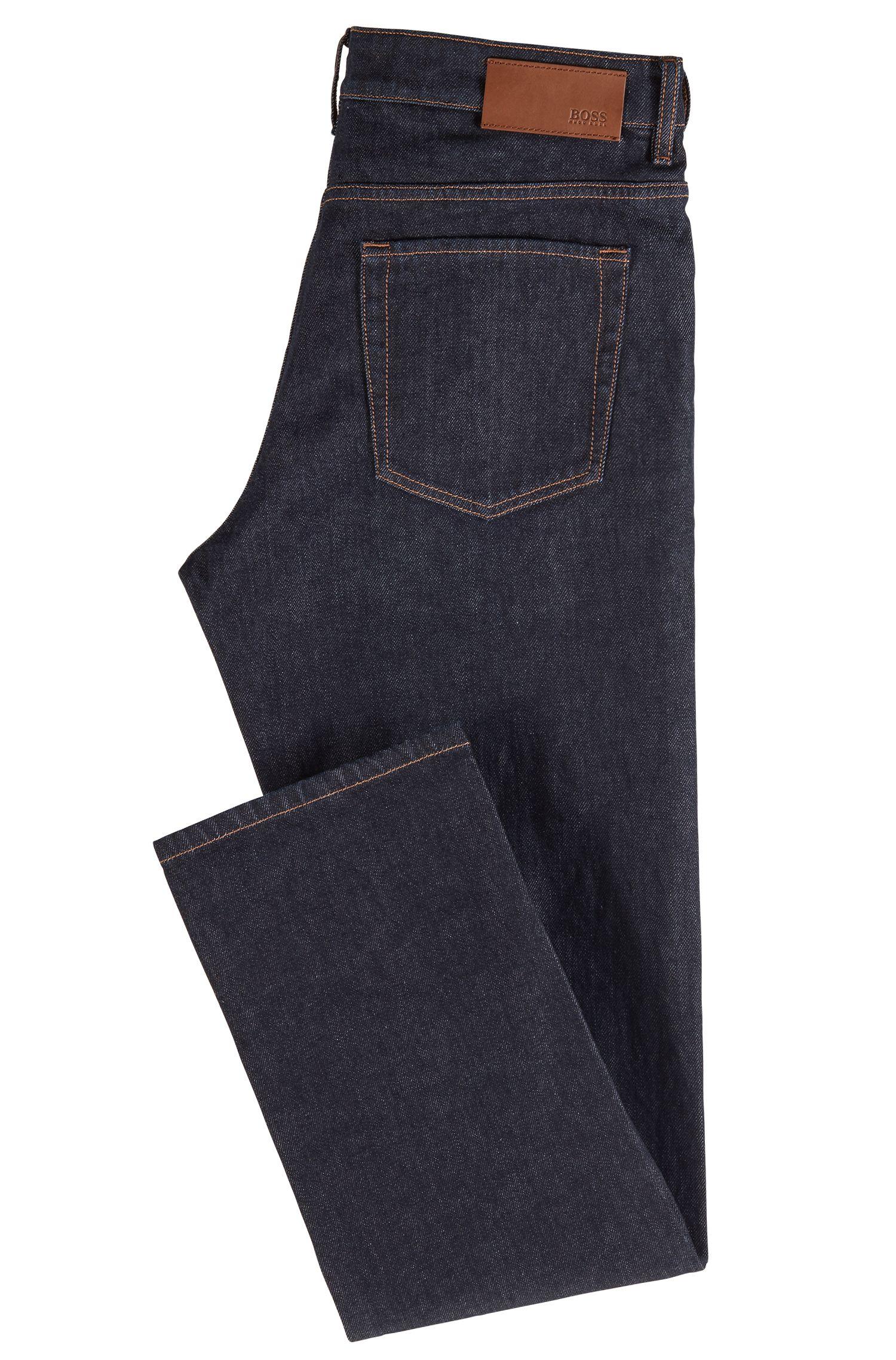 Relaxed-Fit Jeans aus italienischem Stretch-Denim, Dunkelblau