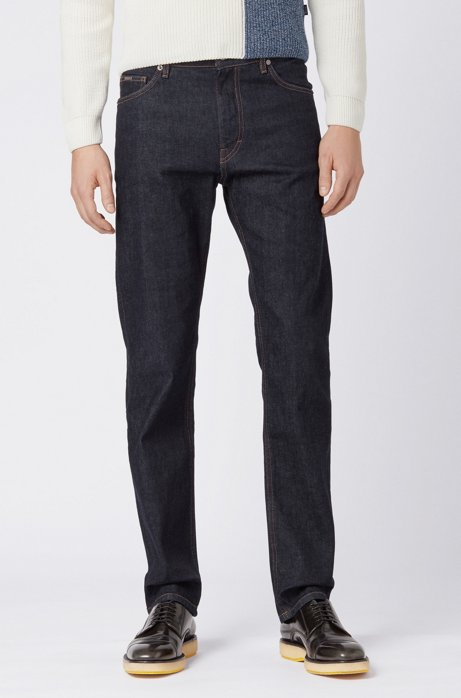 Relaxed-fit jeans in dark-blue Italian denim, Dark Blue