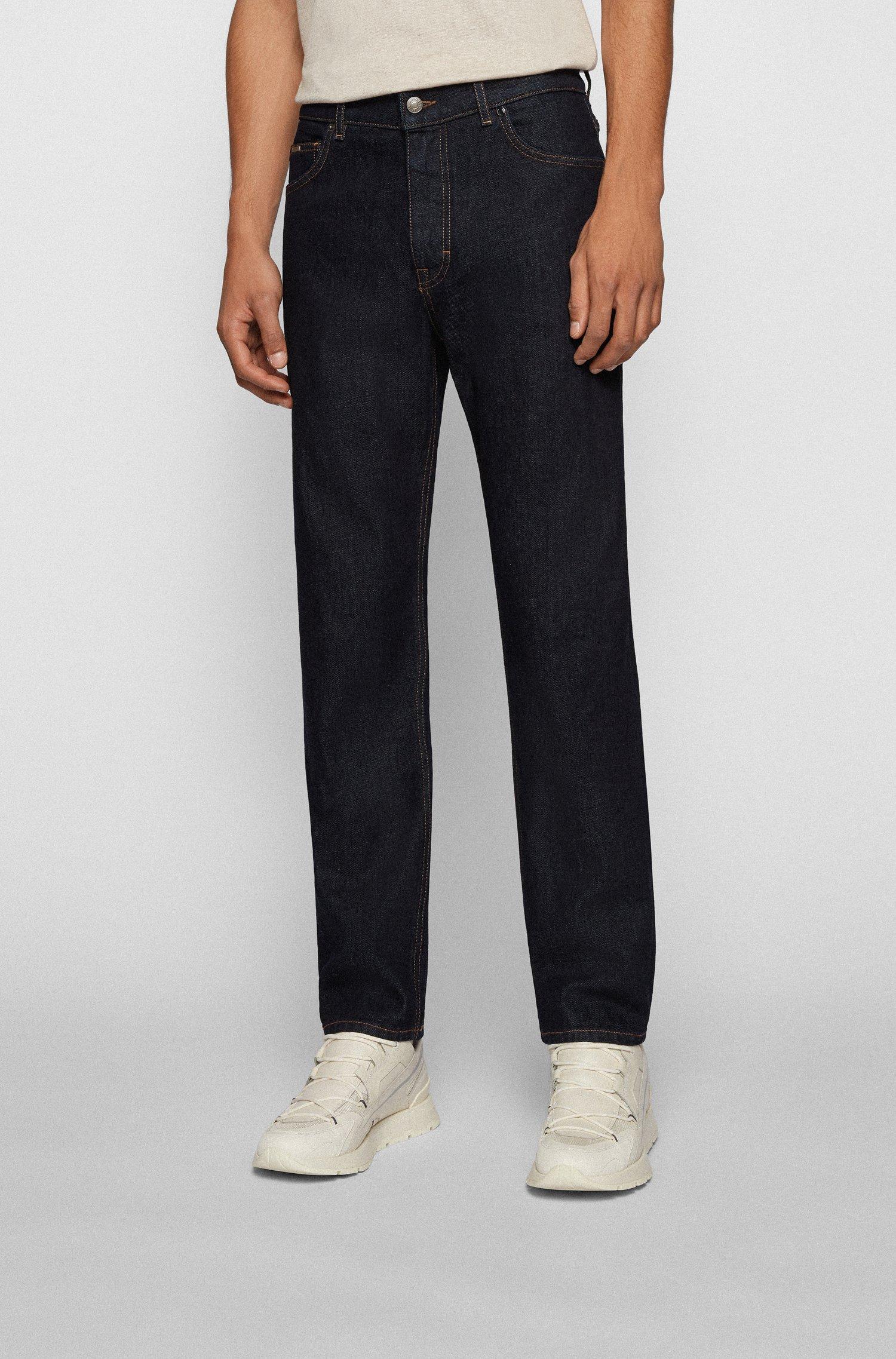 Relaxed-fit jeans in dark-blue Italian stretch denim, Dark Blue