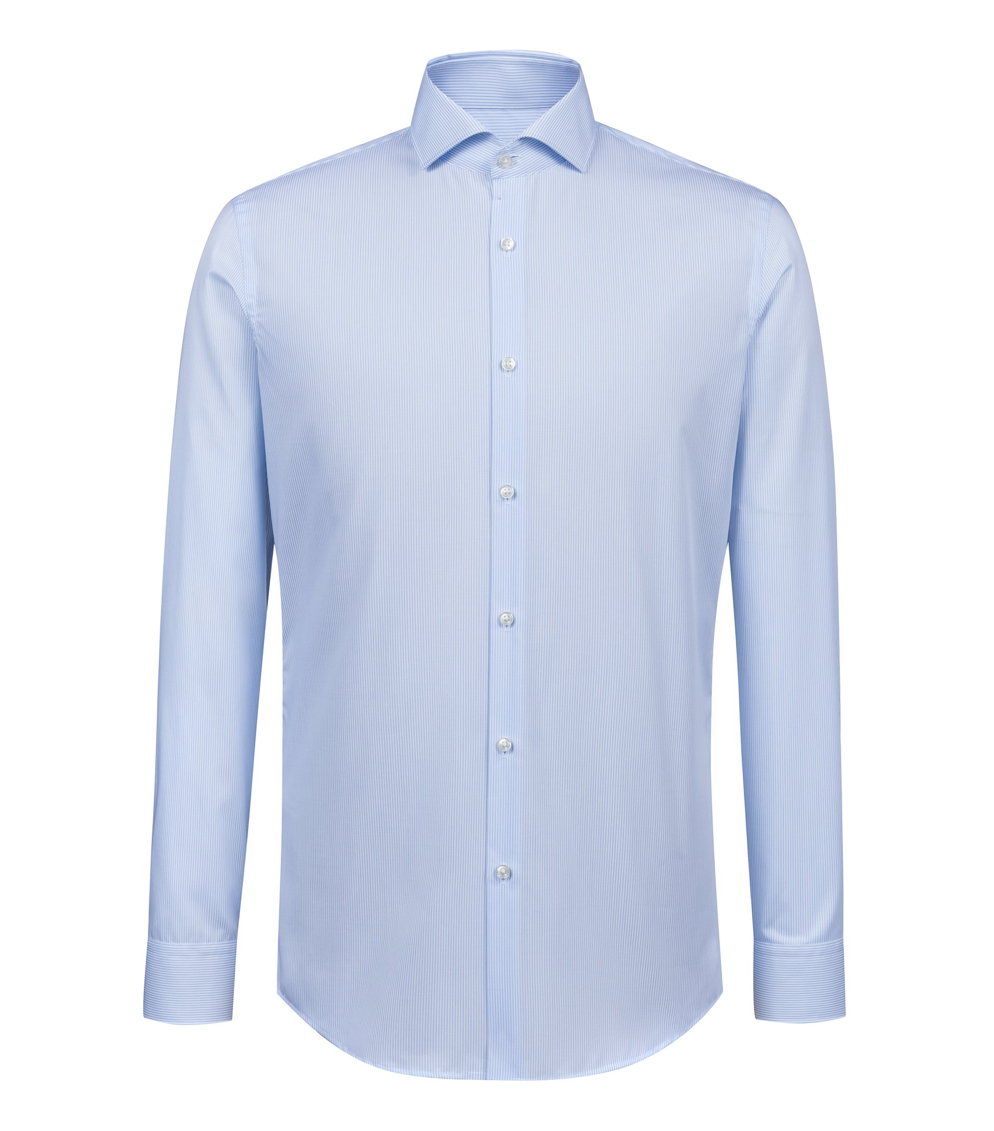 Slim-fit easy-iron shirt in striped cotton poplin, Patterned