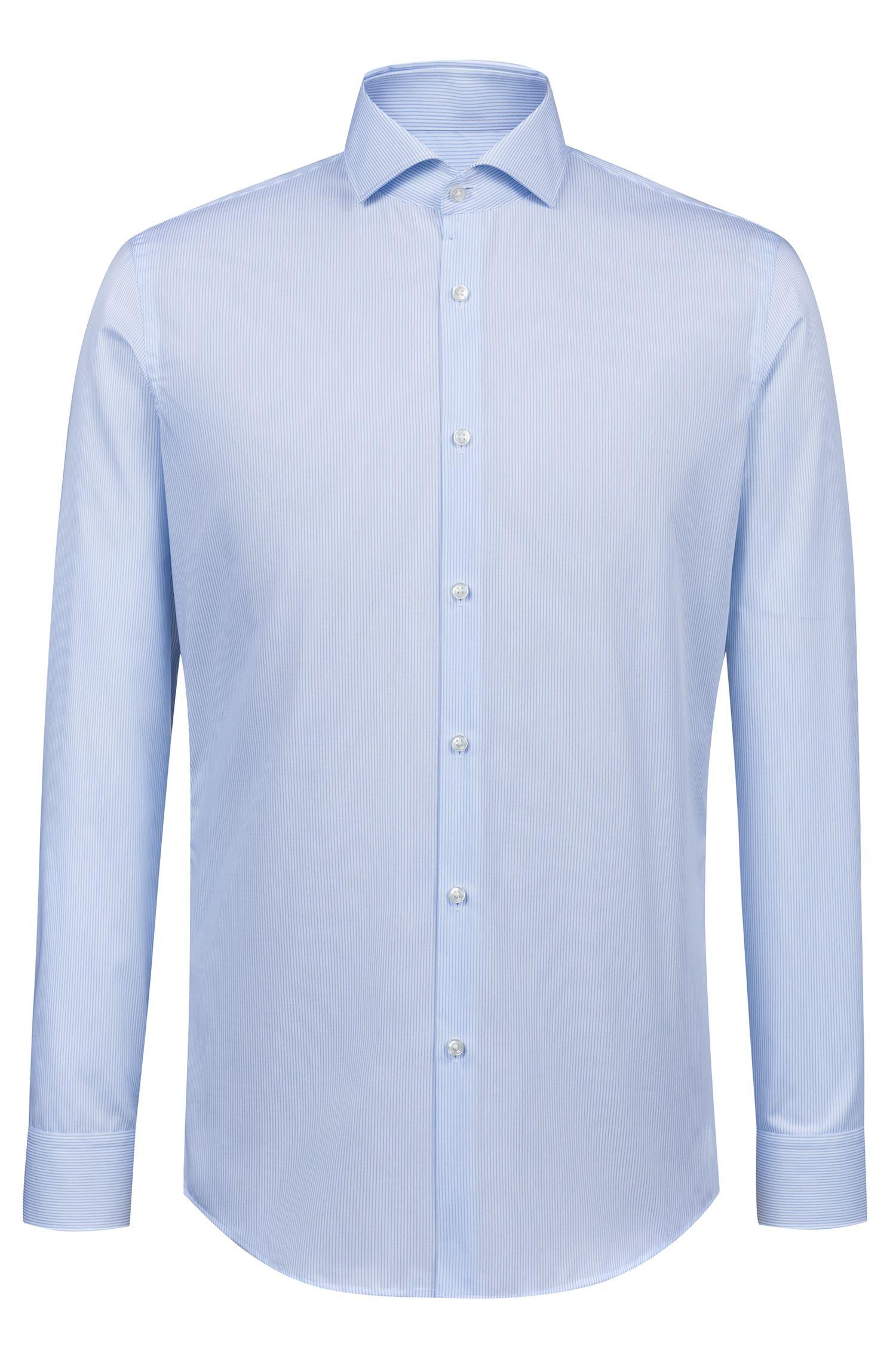 Slim-fit overhemd van gemakkelijk te strijken gestreepte katoenen popeline, Bedrukt