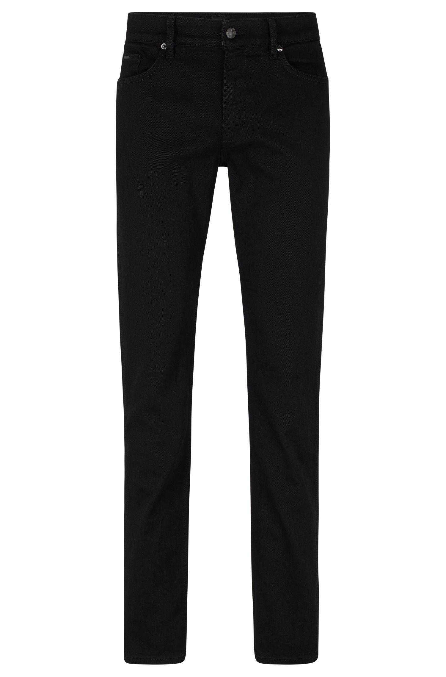 Jeans slim fit neri in denim elasticizzato italiano, Nero
