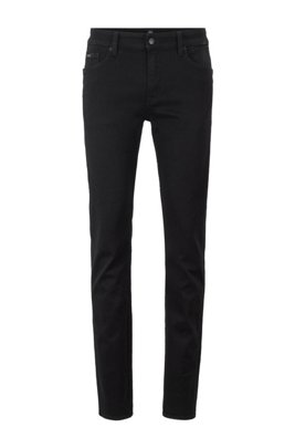 Slim-fit jeans in deep-black Italian stretch denim, Black