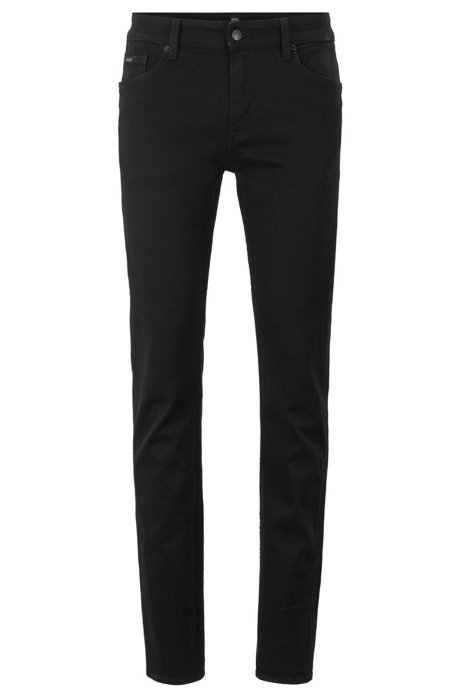 Slim-fit jeans in black Italian denim, Black