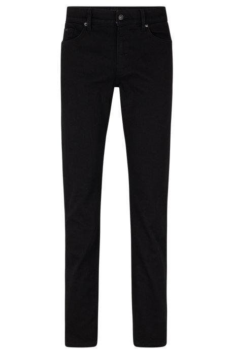 Slim-Fit Jeans aus italienischem Denim, Schwarz