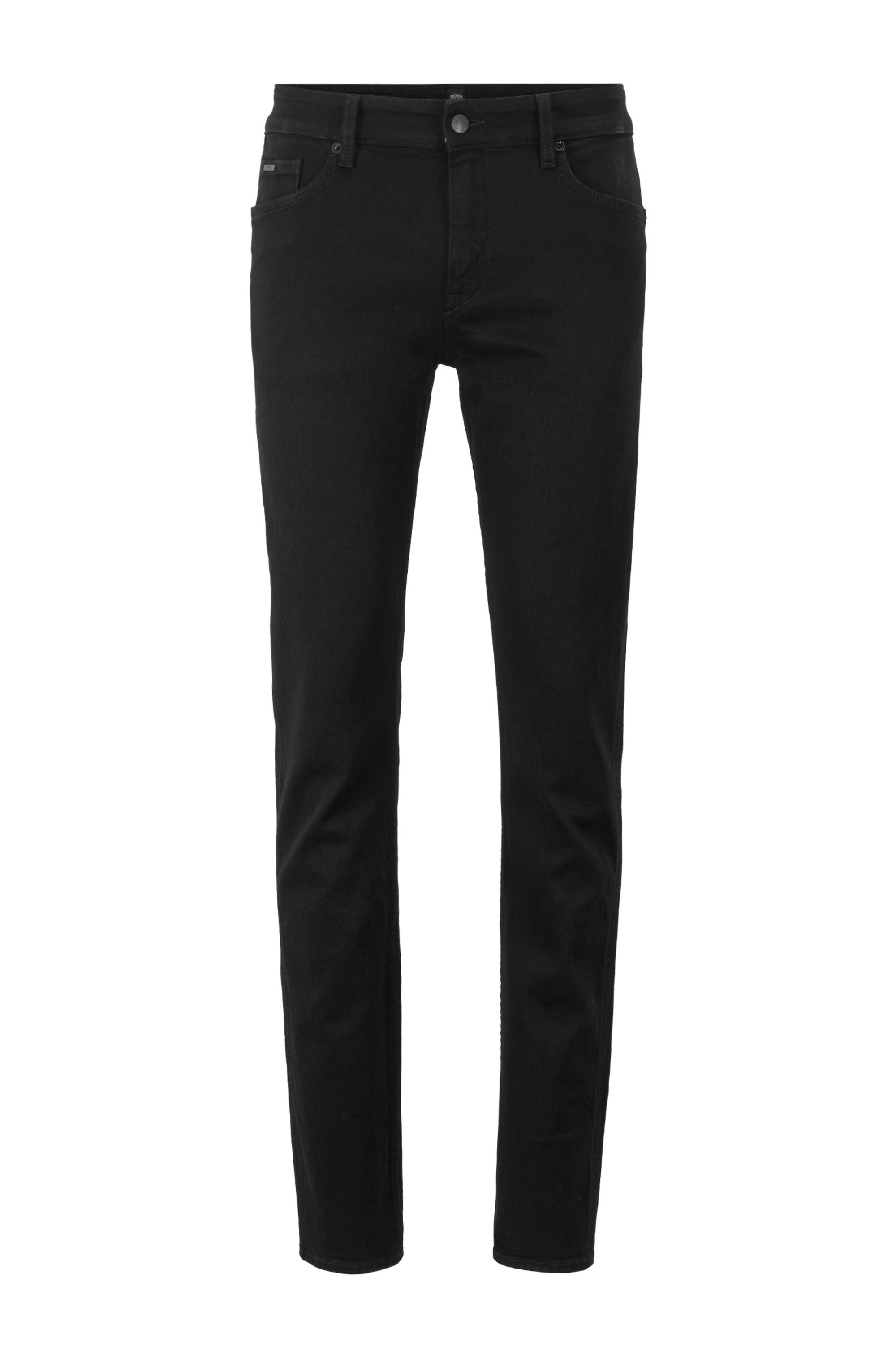 Slim-fit jeans in deep-black Italian stretch denim, Black