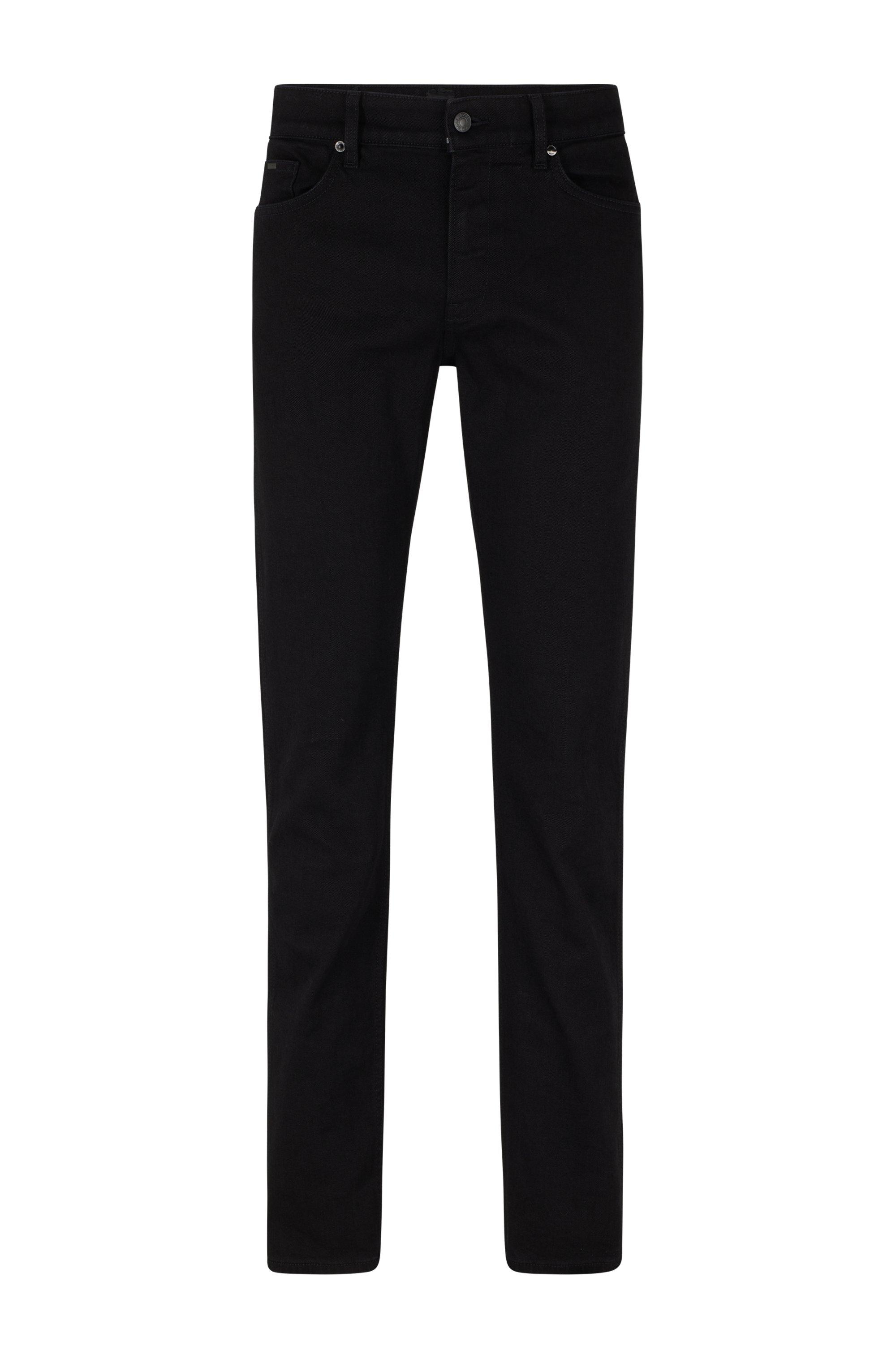 Slim-Fit Jeans aus italienischem Stretch-Denim, Schwarz