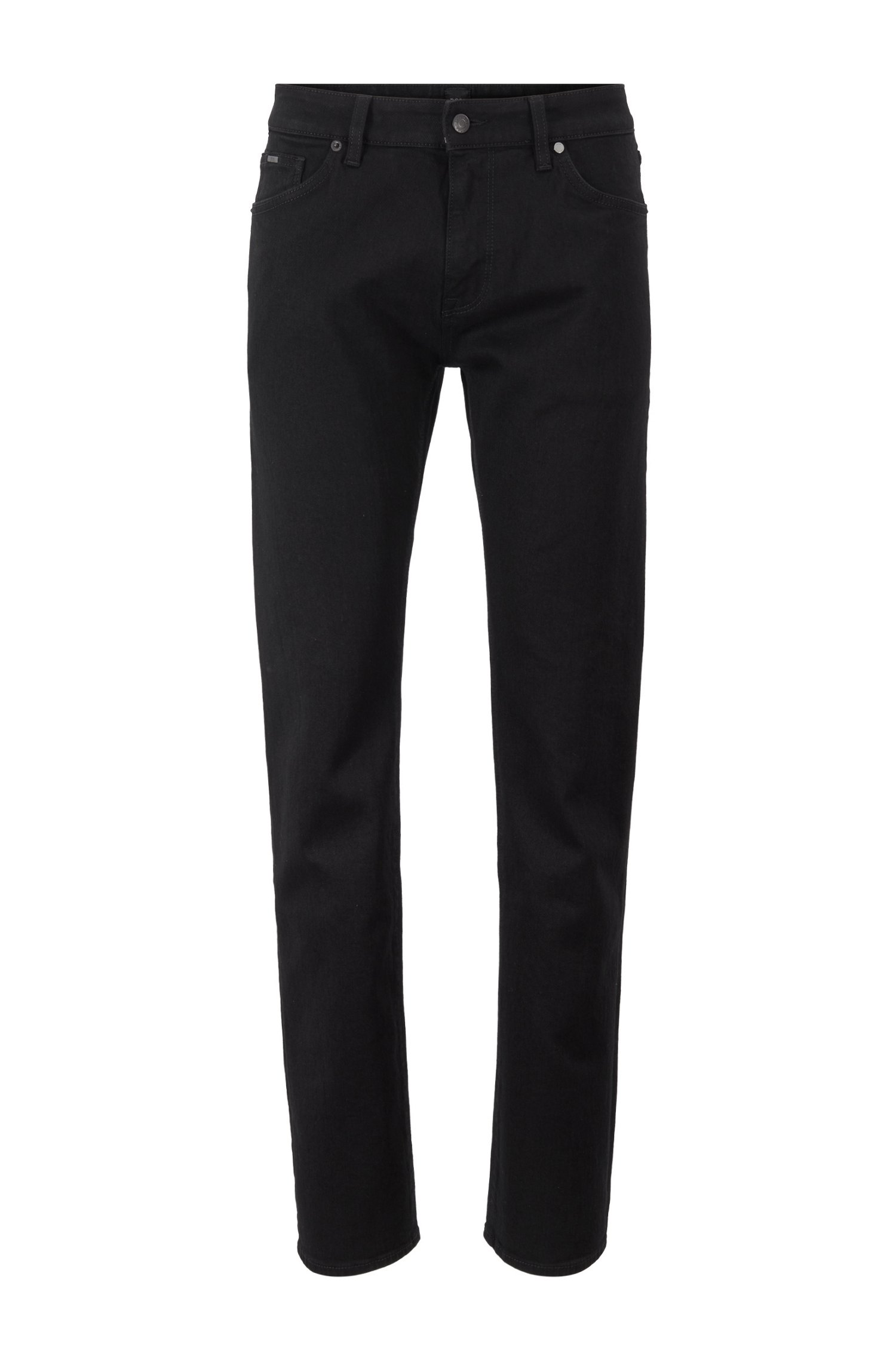 Regular-fit jeans in deep-black Italian stretch denim, Black