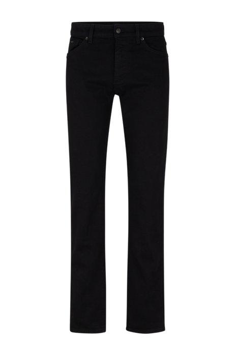 Regular-Fit Jeans aus italienischem Stretch-Denim, Schwarz