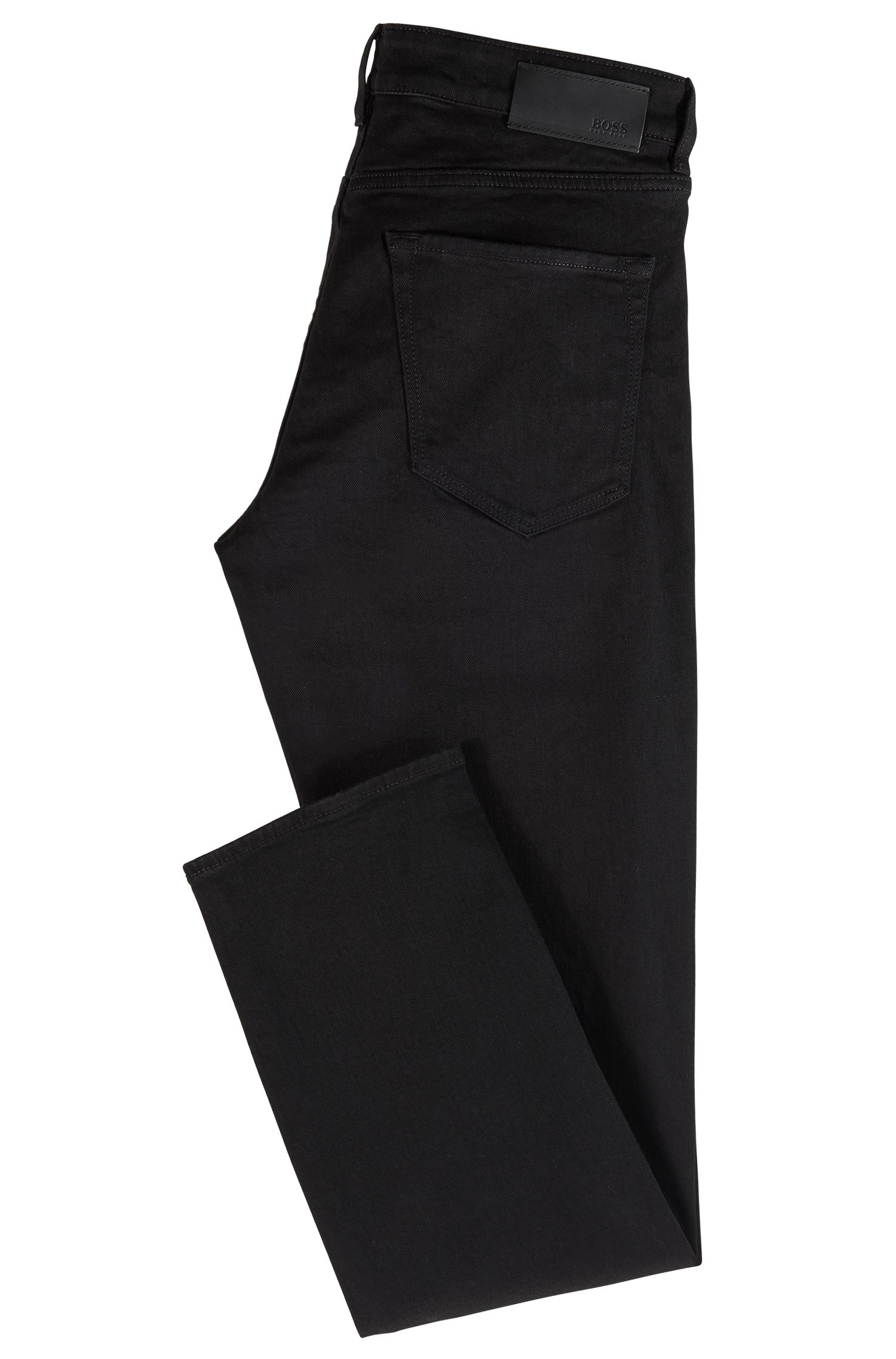 Jean Regular Fit en denim stretch italien noir profond, Noir