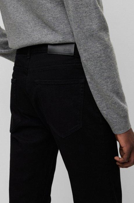 Regular-fit jeans van zwart Italiaans denim, Zwart