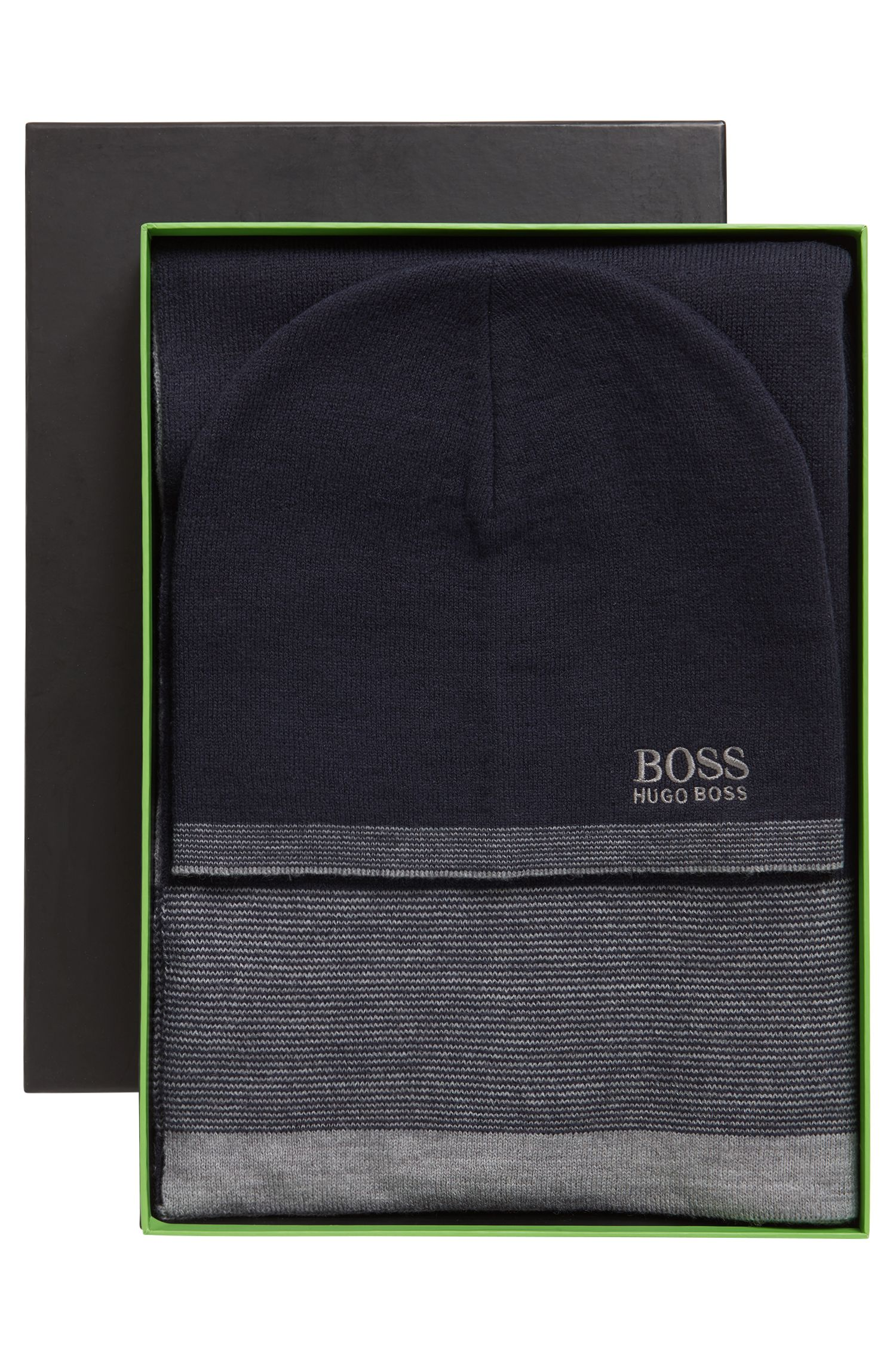Fine ribbed beanie hat and scarf gift set, Dark Blue