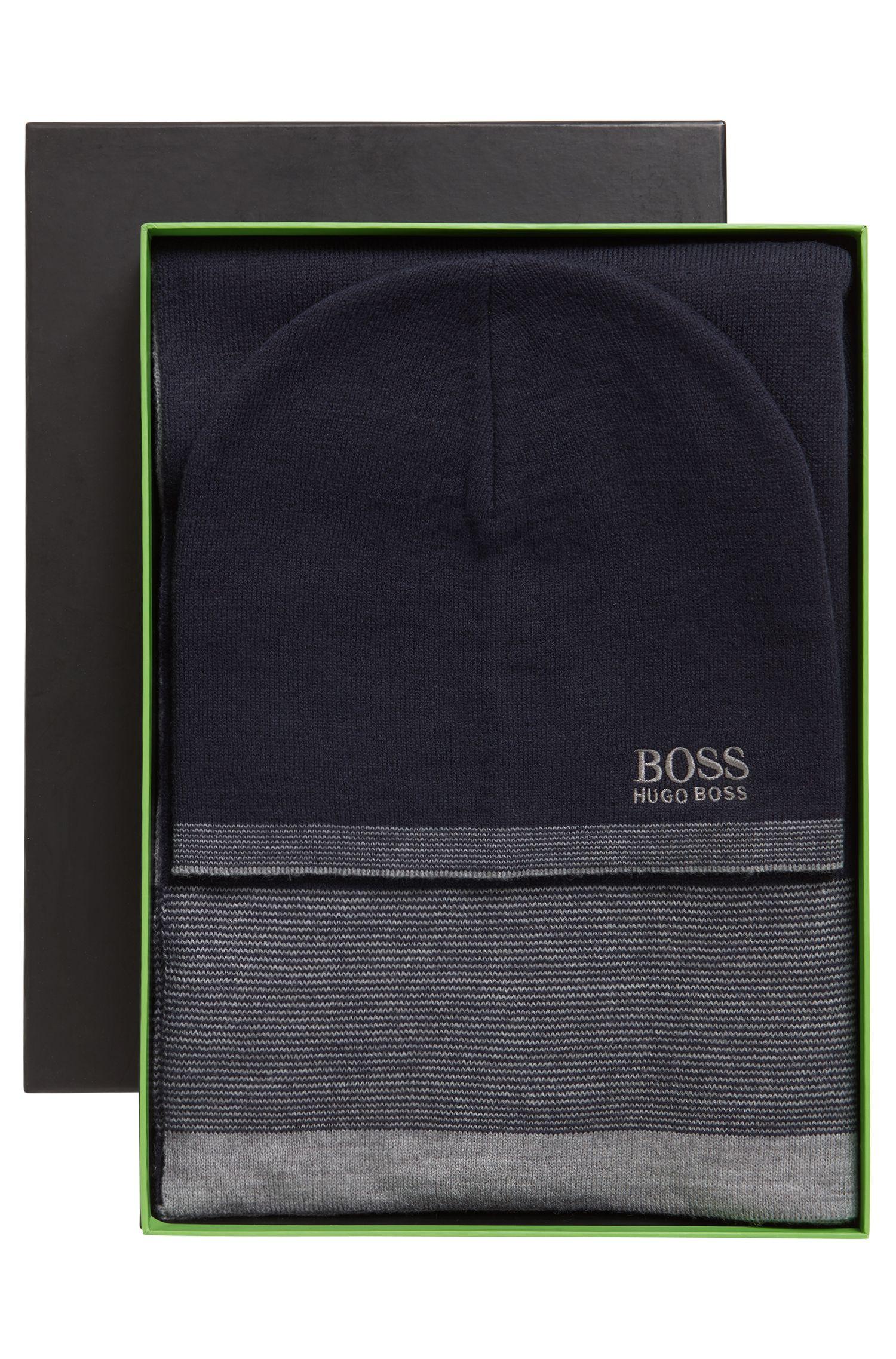 Coffret cadeau avec bonnet et écharpe finement côtelés, Bleu foncé