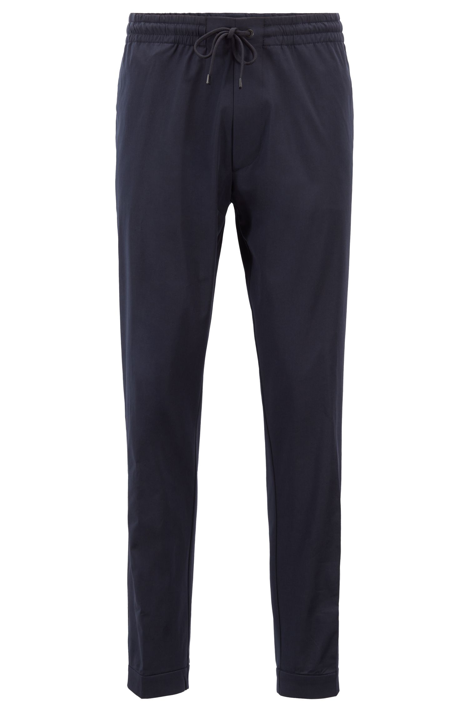 Relaxed-fit chinos in lightweight Italian stretch cotton, Dark Blue