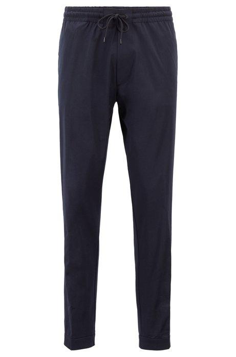 Chino Relaxed Fit en coton stretch italien léger, Bleu foncé
