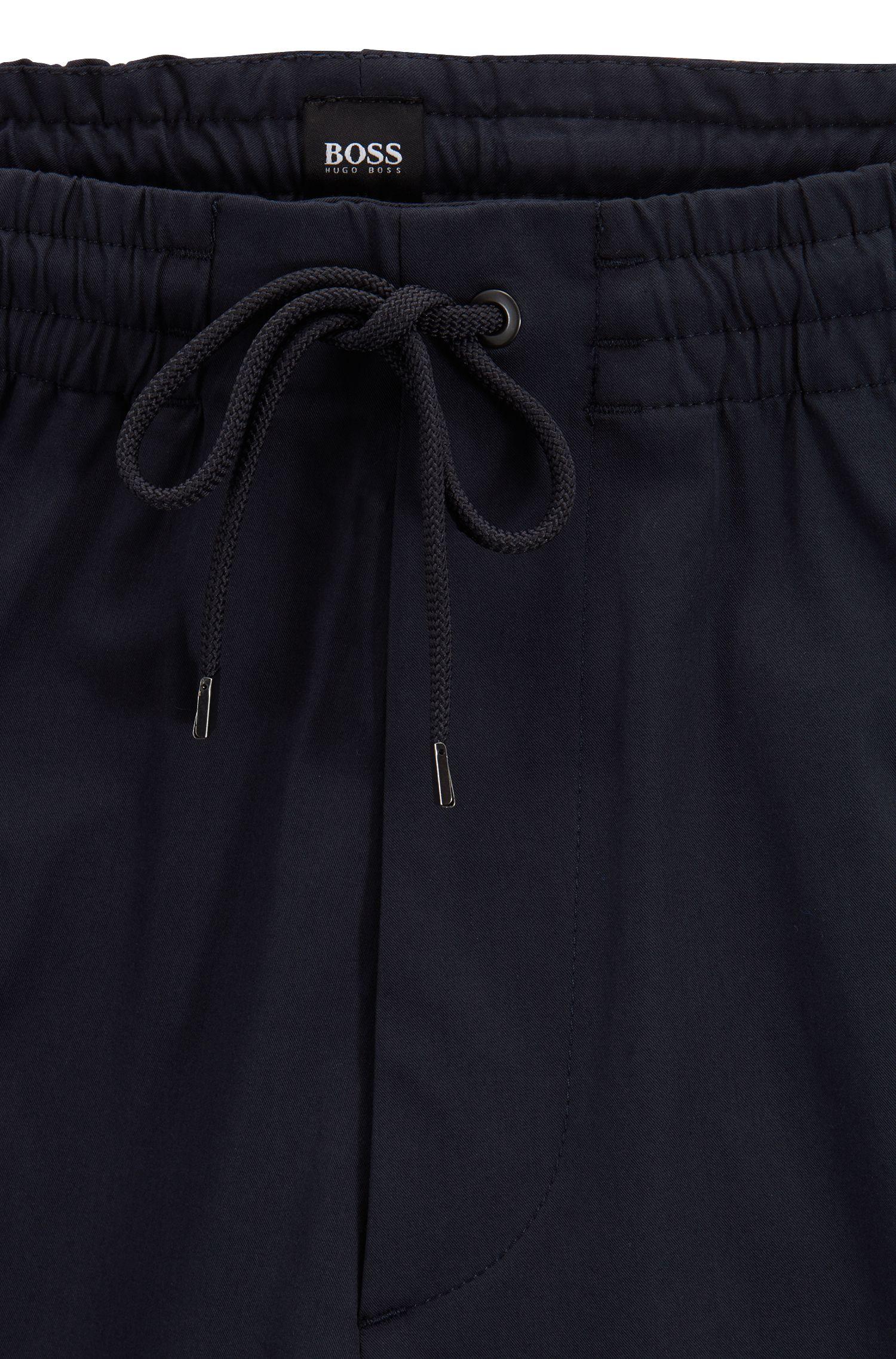 Chinos relaxed fit en algodón elástico ligero italiano, Azul oscuro
