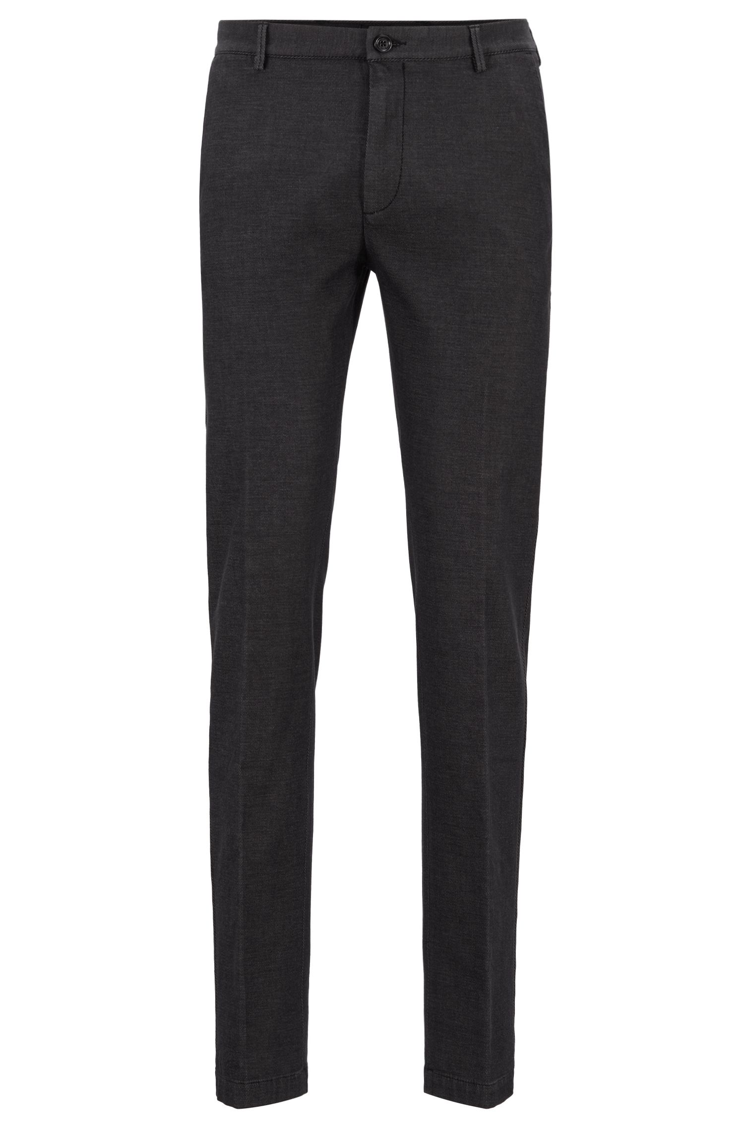 Slim-fit chinos in two-tone stretch-cotton twill, Black