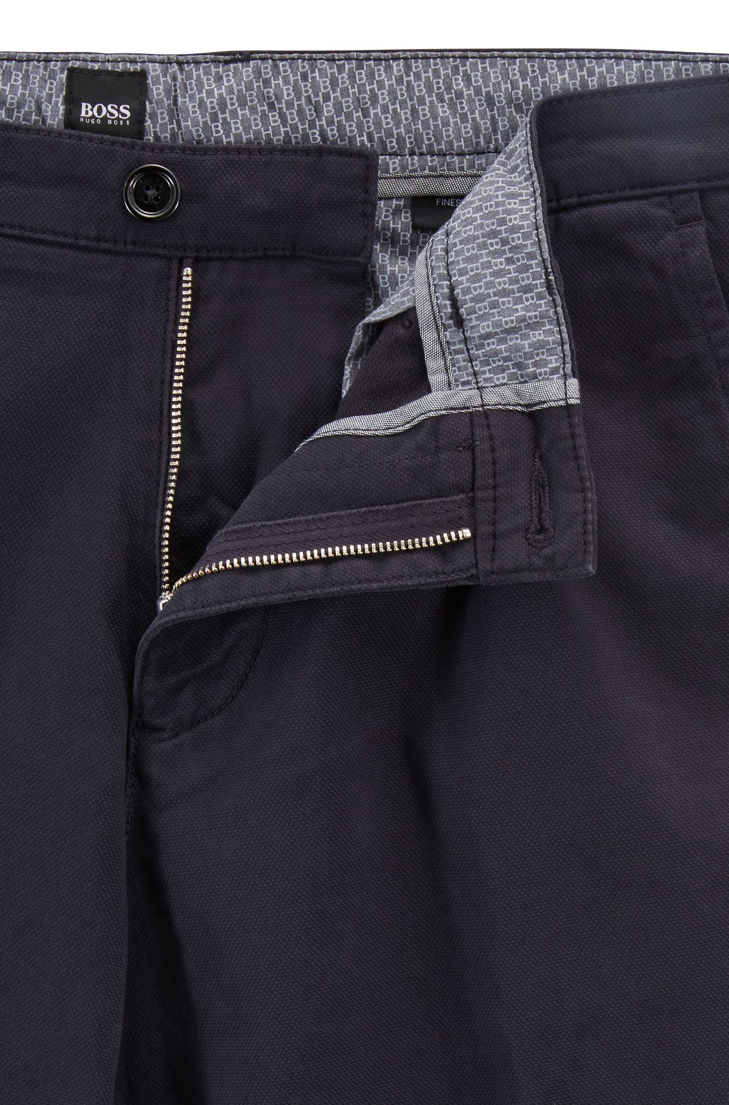 Regular-fit chinos in micro-patterned stretch-cotton canvas, Dark Blue