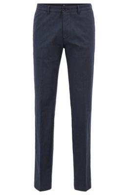 Chinos regular fit en algodón elástico jaspeado, Azul oscuro