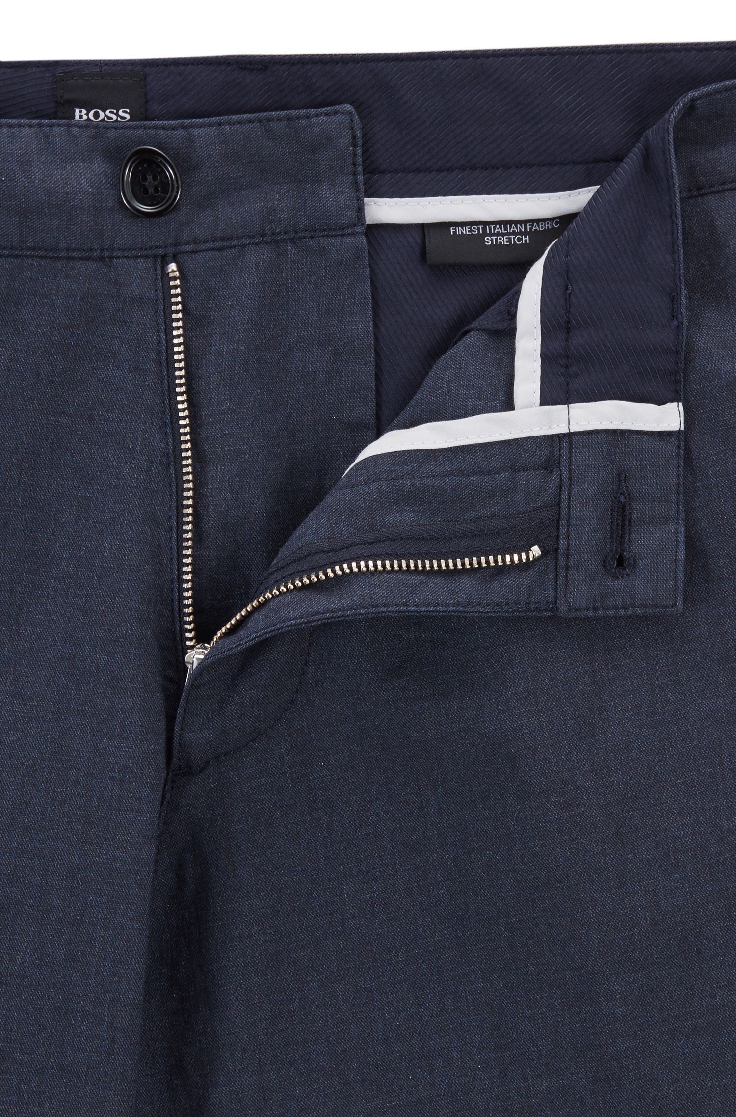 Chino regular fit in cotone elasticizzato mélange, Blu scuro