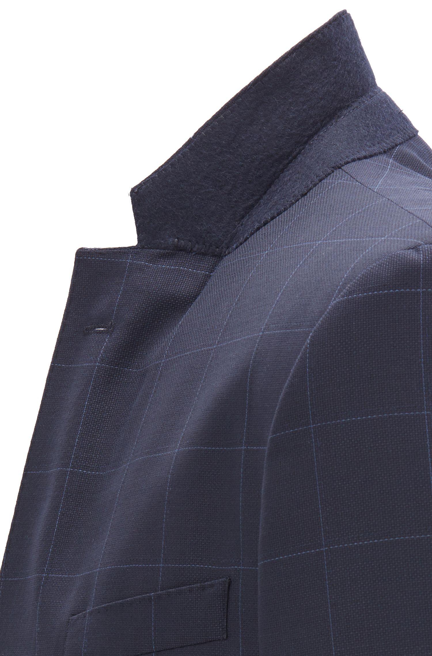 Slim-fit kostuum in een serge van scheerwol met ruitdessin, Blauw